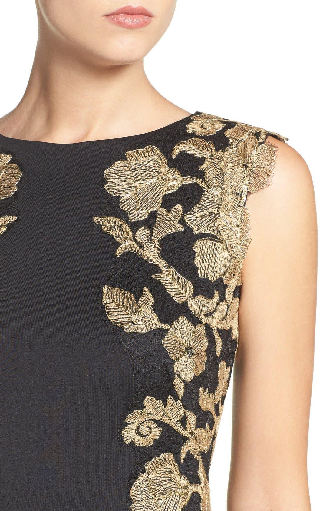 Embroidered Neoprene Sheath Dress,                             Alternate thumbnail 21, color,