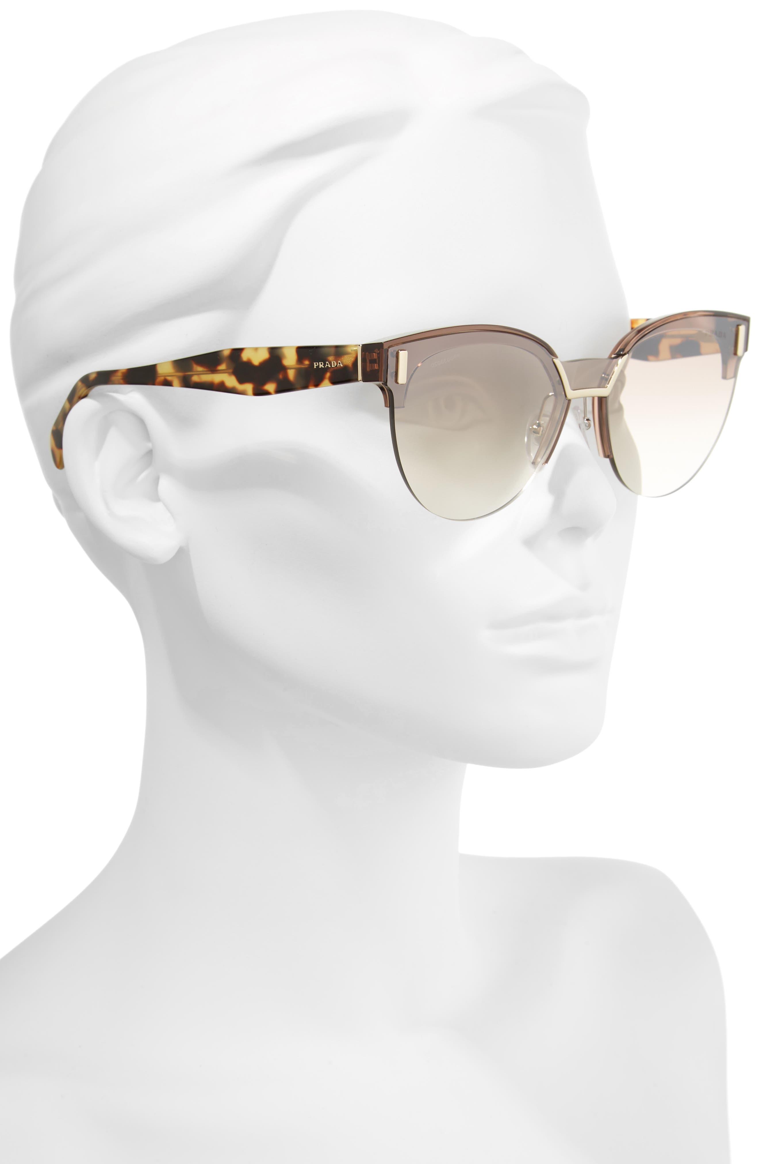43mm Semi Rimless Sunglasses,                             Alternate thumbnail 3, color,                             TRANSPARENT BROWN