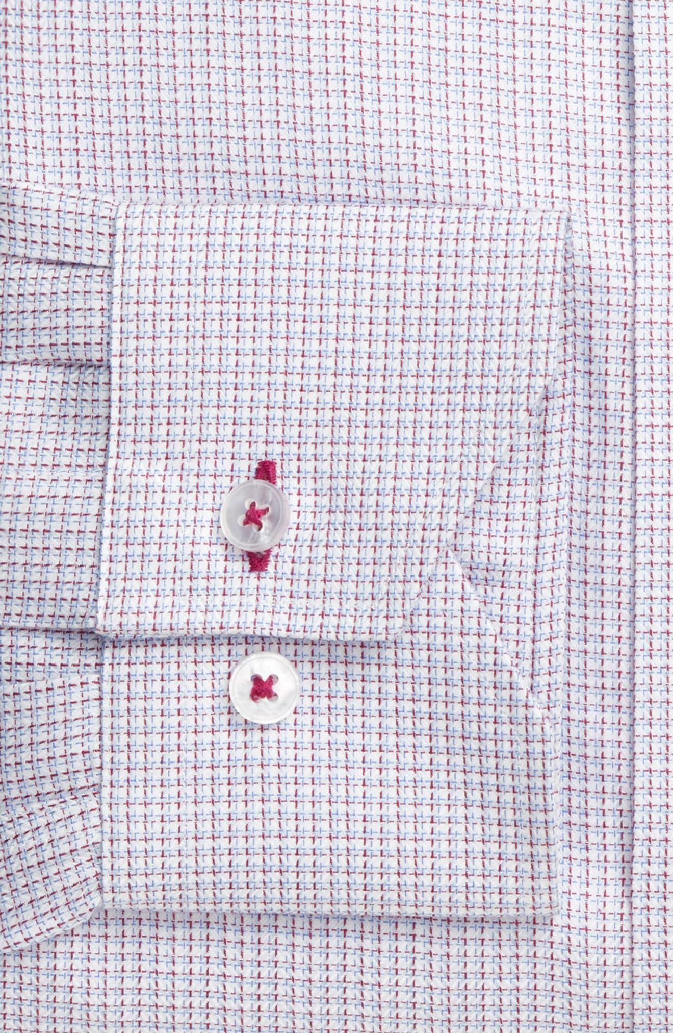 Trim Fit Textured Check Dress Shirt,                             Alternate thumbnail 4, color,                             450