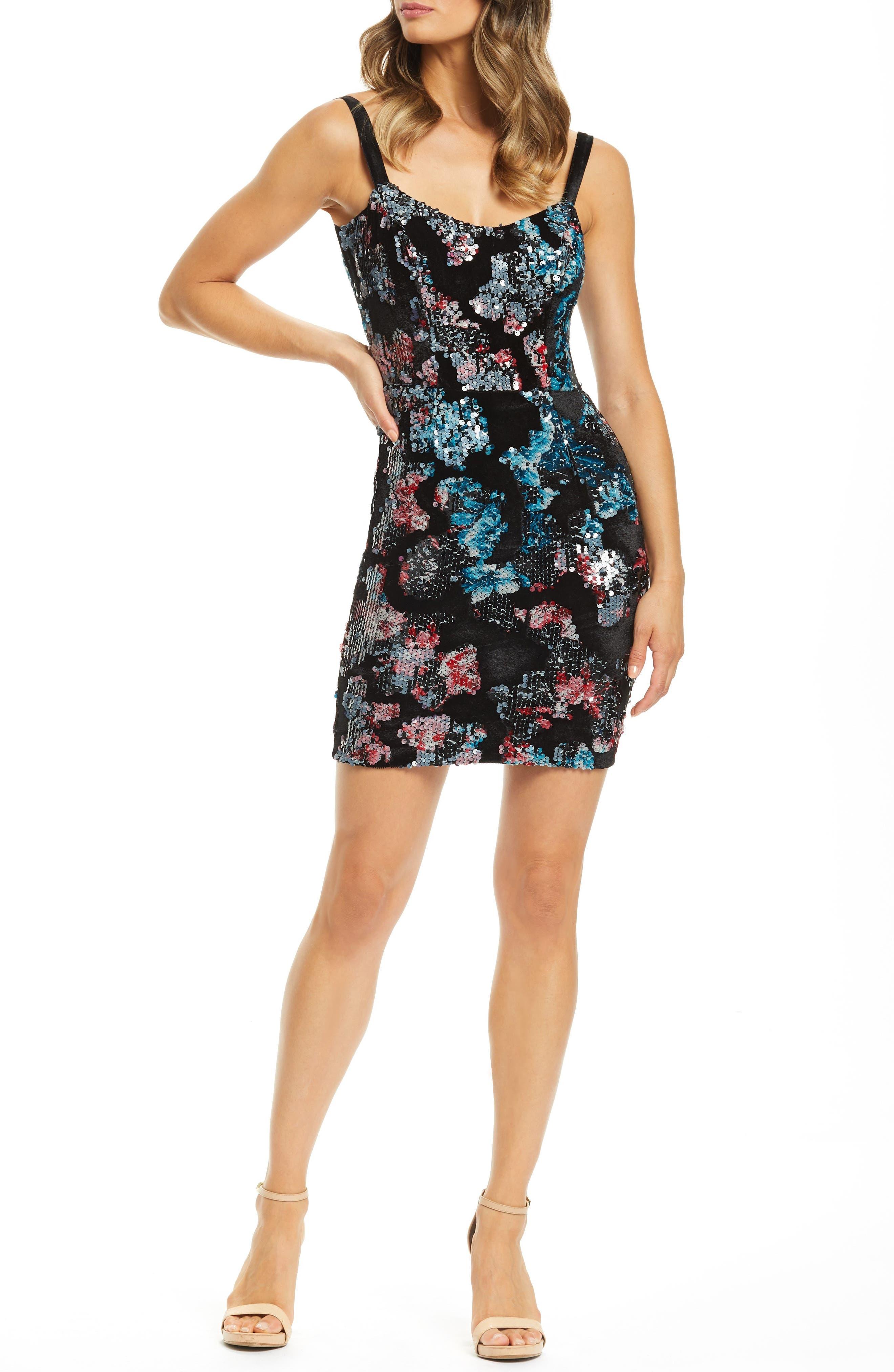 Dress The Population Lindsay Demi Neckline Sheath, Black