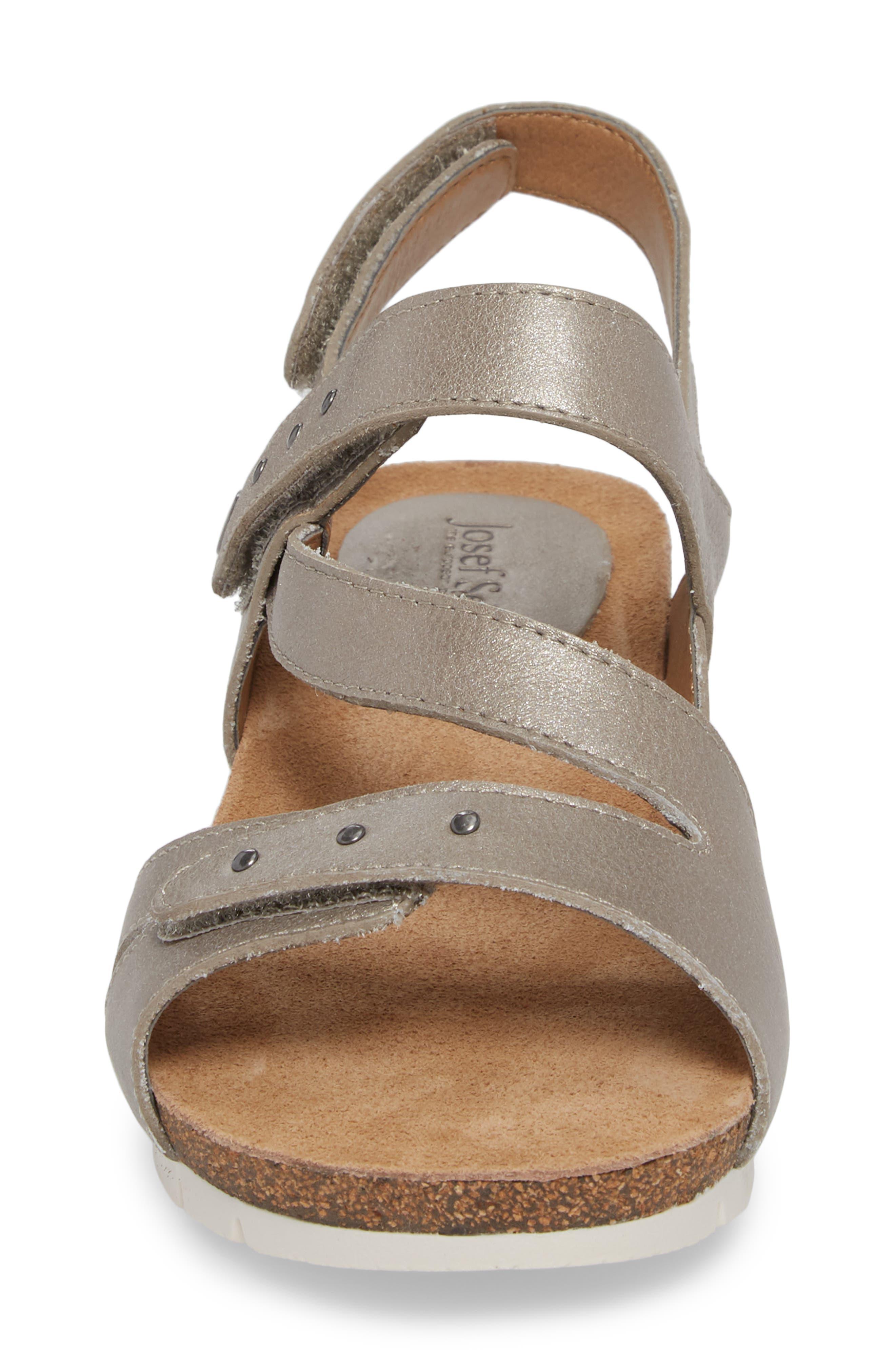 Hailey 33 Sandal,                             Alternate thumbnail 4, color,                             PLATINUM LEATHER