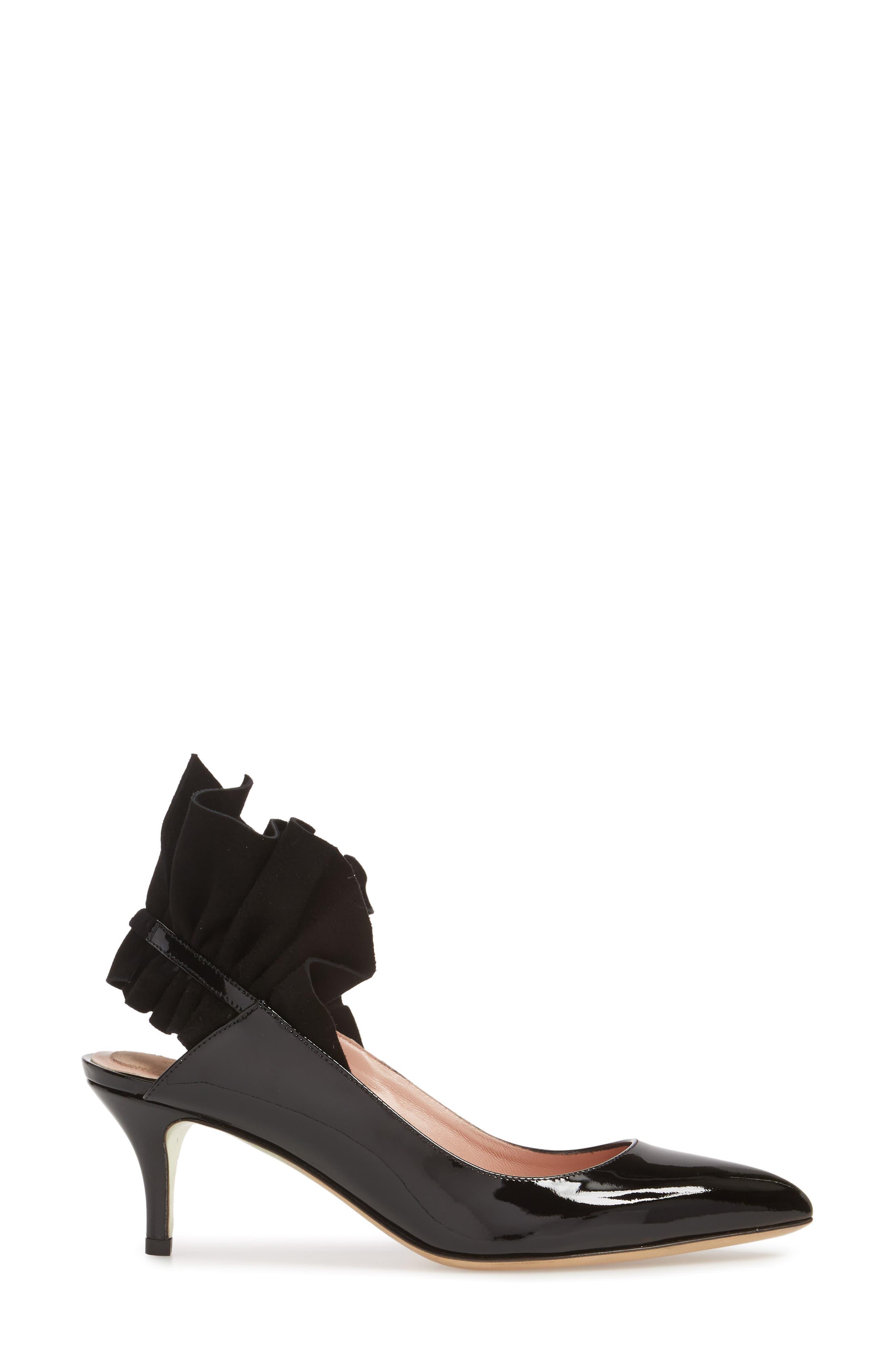 Frills For All Slingback Pump,                             Alternate thumbnail 3, color,                             BLACK