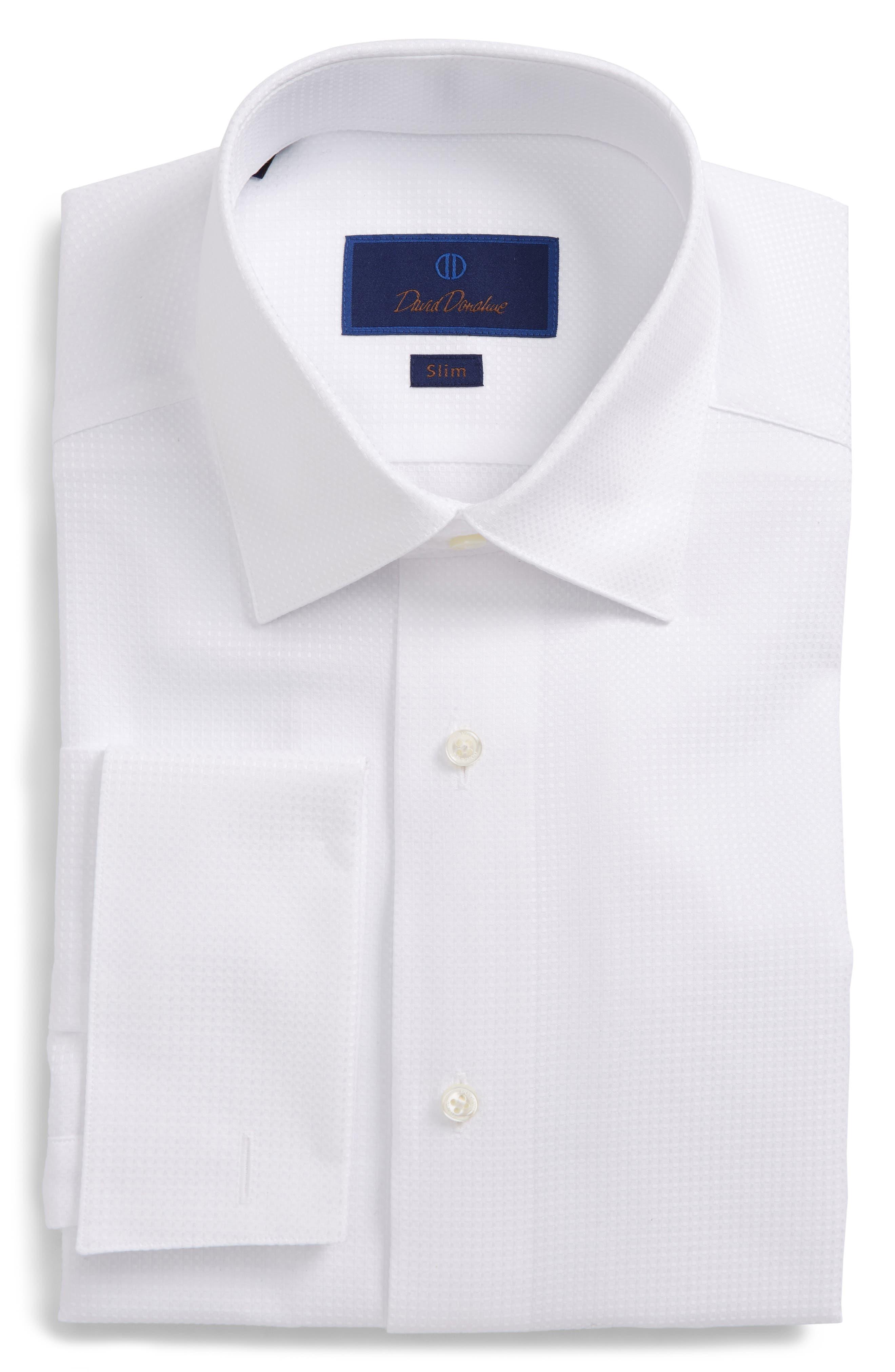 Slim Fit Tuxedo Shirt,                             Main thumbnail 1, color,                             WHITE