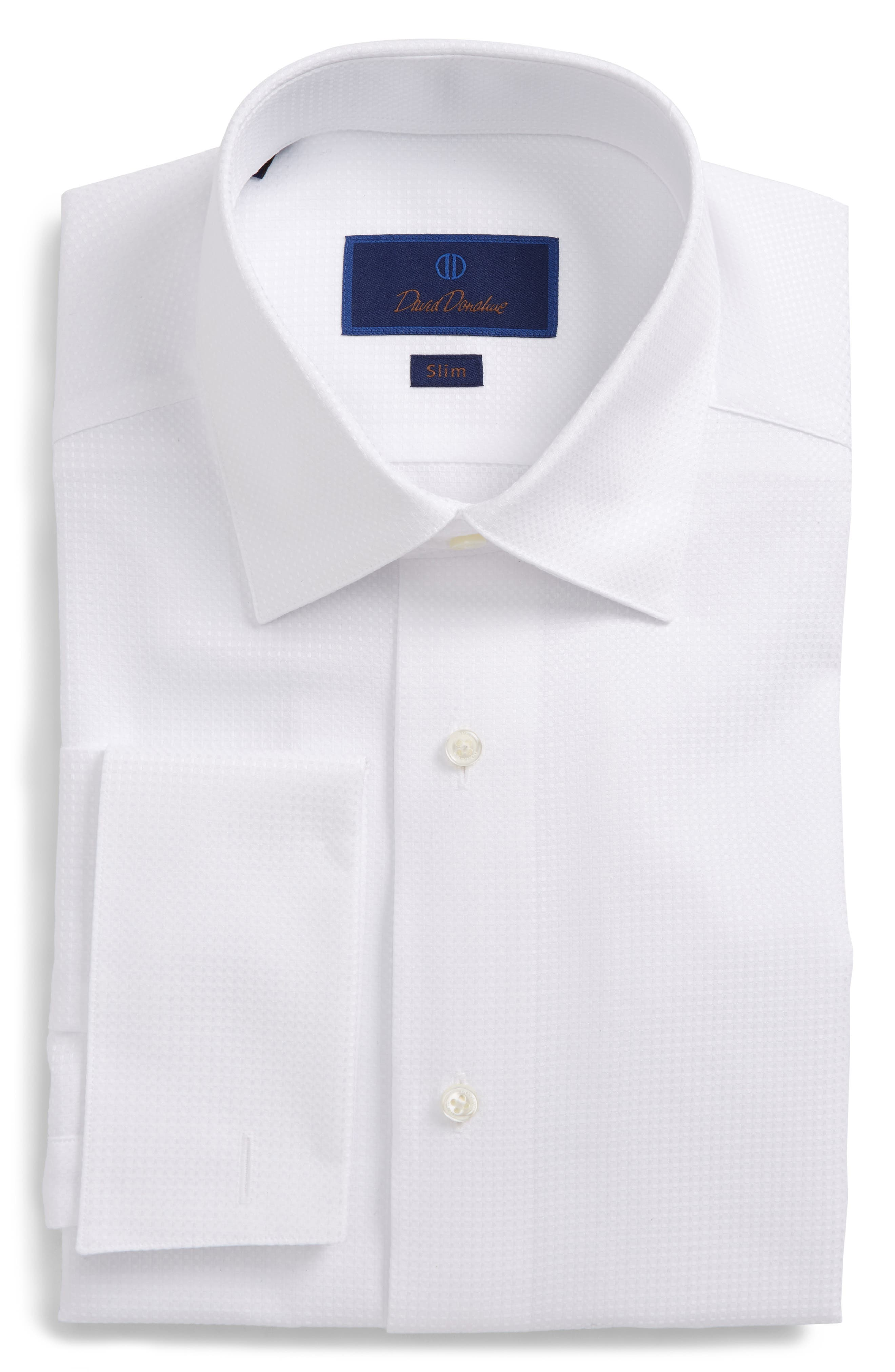 Slim Fit Tuxedo Shirt,                         Main,                         color, WHITE