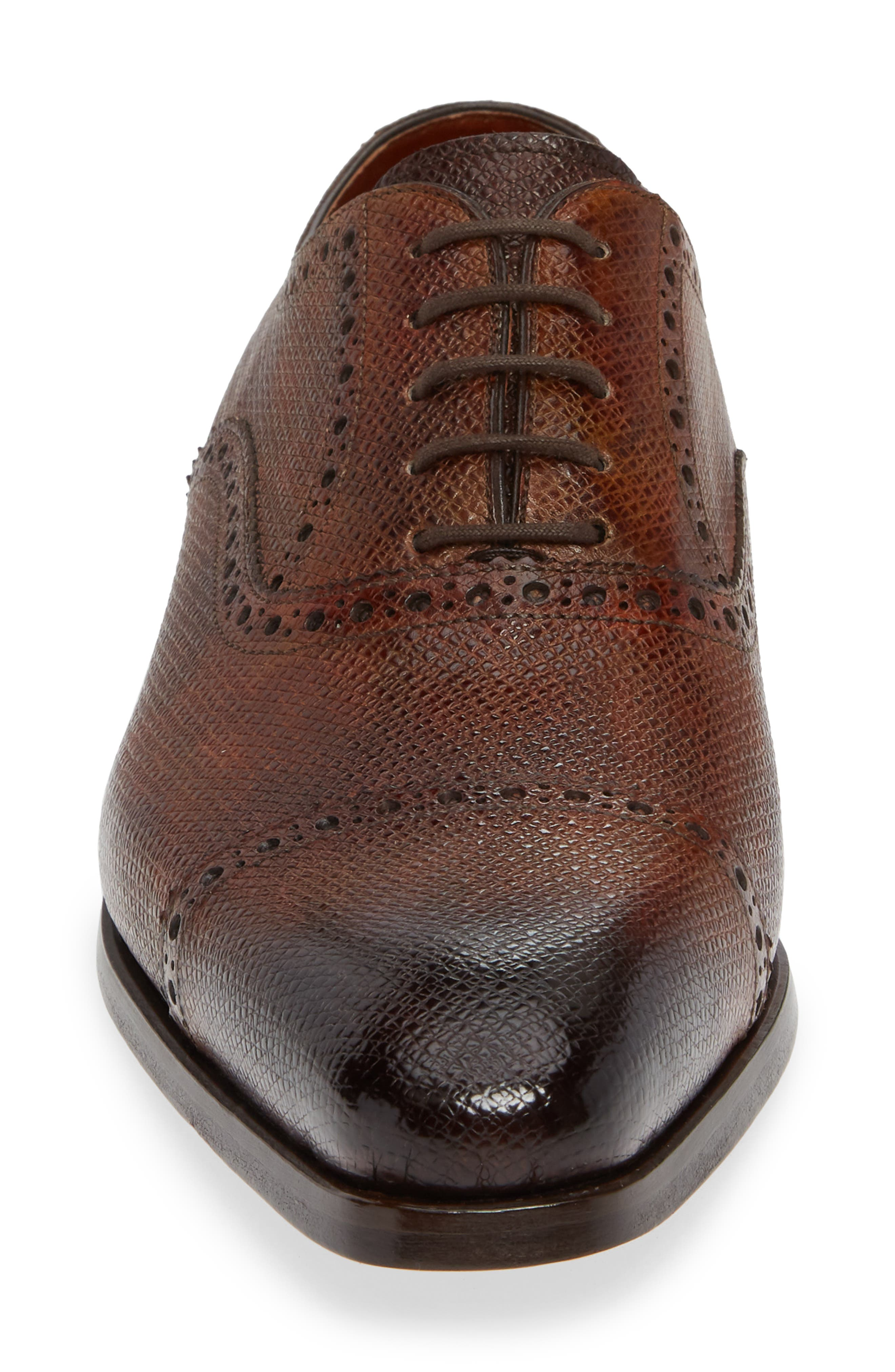 Charlton Cap Toe Oxford,                             Alternate thumbnail 4, color,                             MID BROWN LEATHER