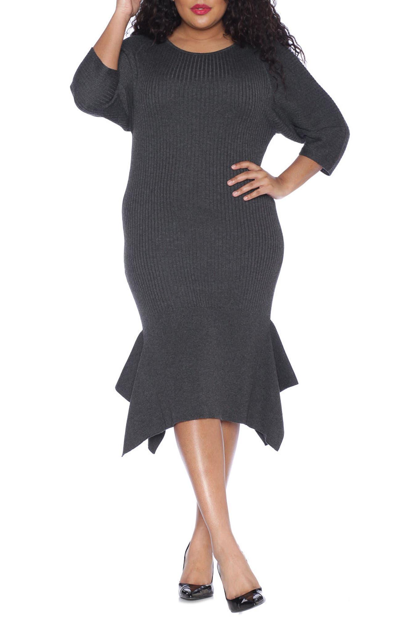 Handkerchief Hem Sweater Dress,                             Main thumbnail 1, color,                             DARK STONE