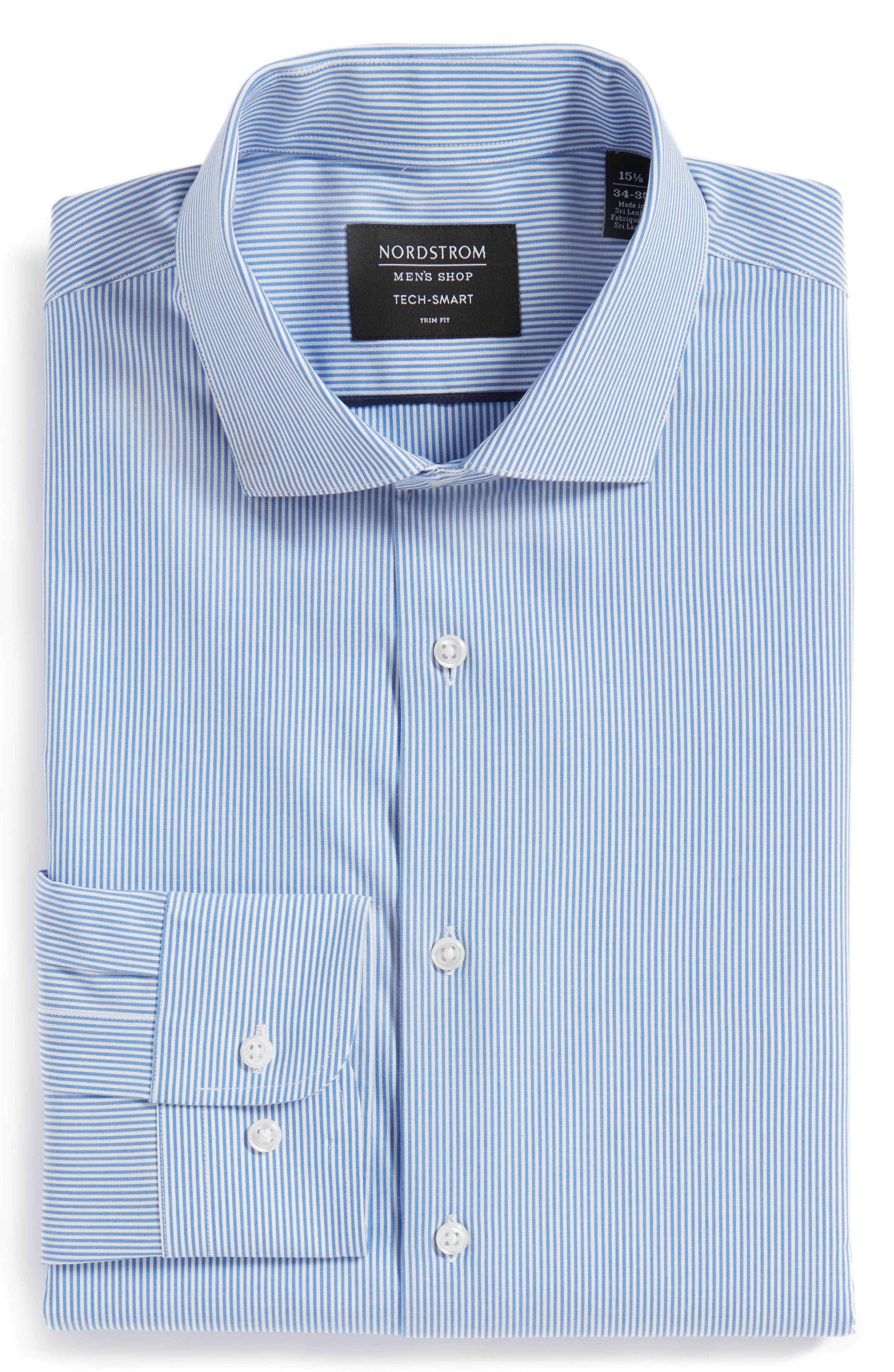 Tech-Smart Trim Fit Stretch Stripe Dress Shirt,                             Alternate thumbnail 3, color,                             420