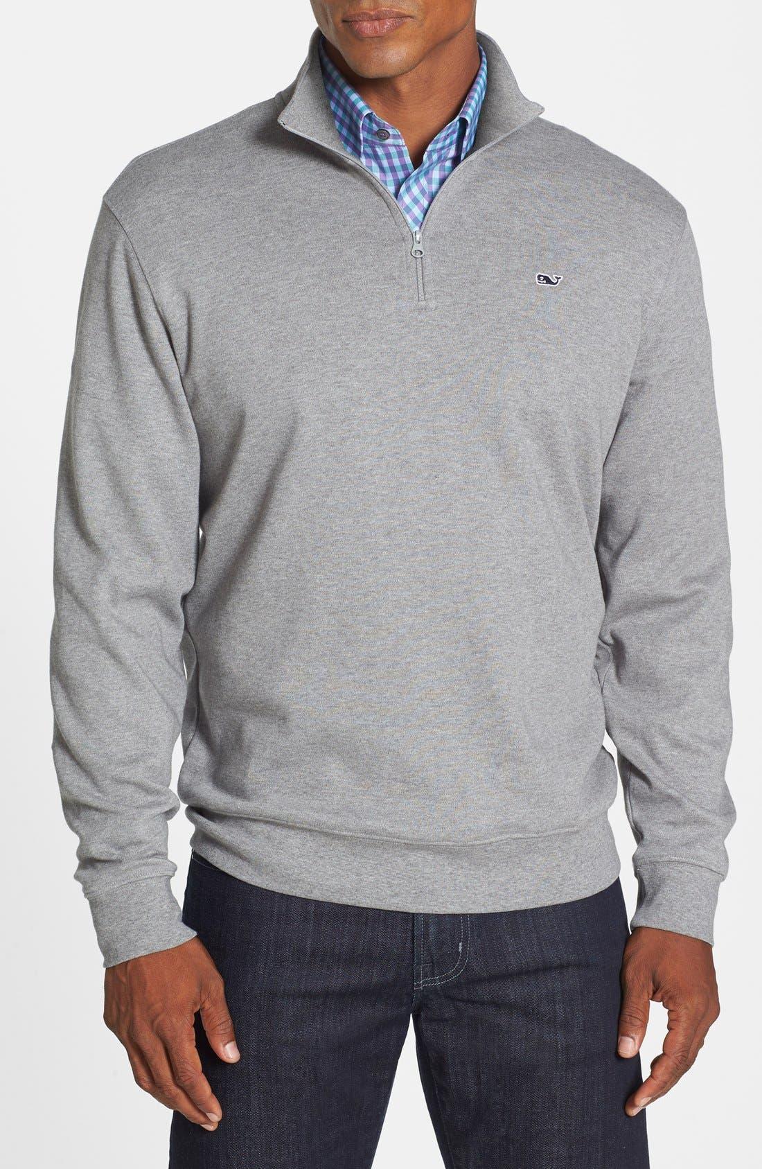 Quarter Zip Cotton Jersey Sweatshirt,                             Main thumbnail 1, color,                             020