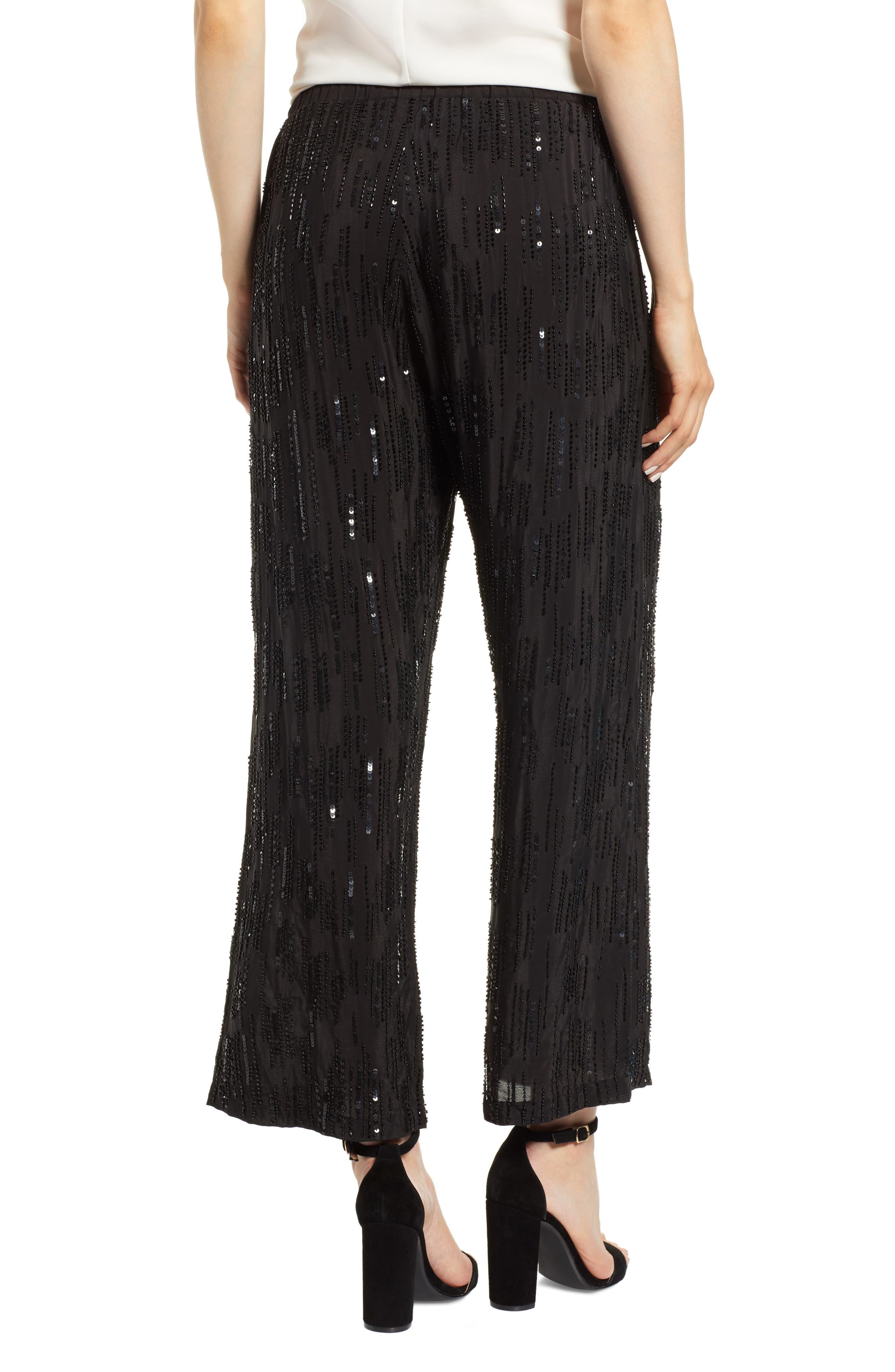 Raindrop Sequin Pants,                             Alternate thumbnail 2, color,                             BLACK