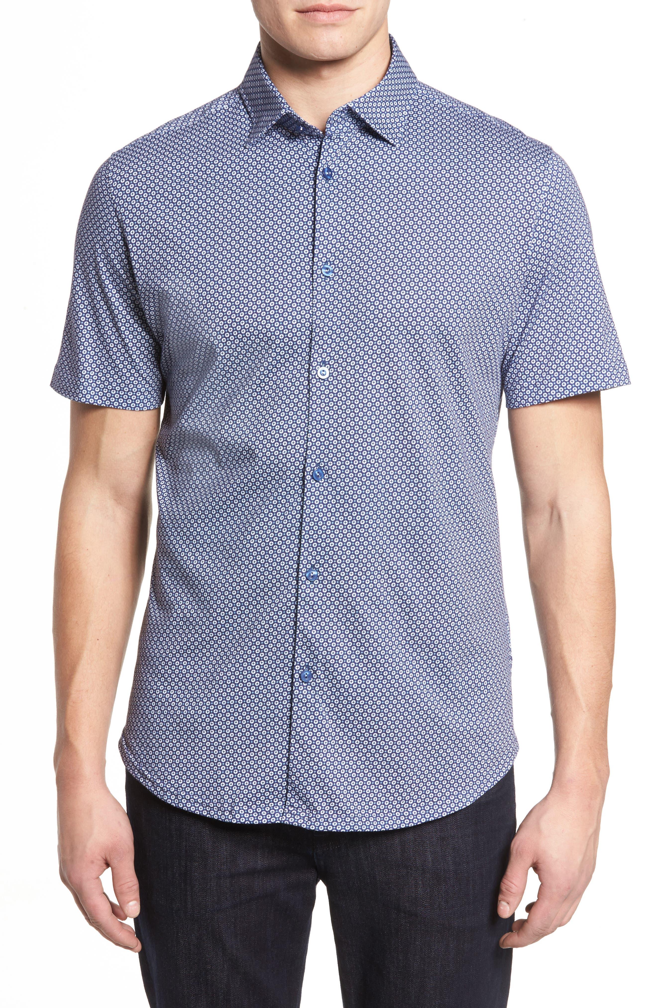 Slim Fit Geo Print Knit Sport Shirt,                             Main thumbnail 1, color,