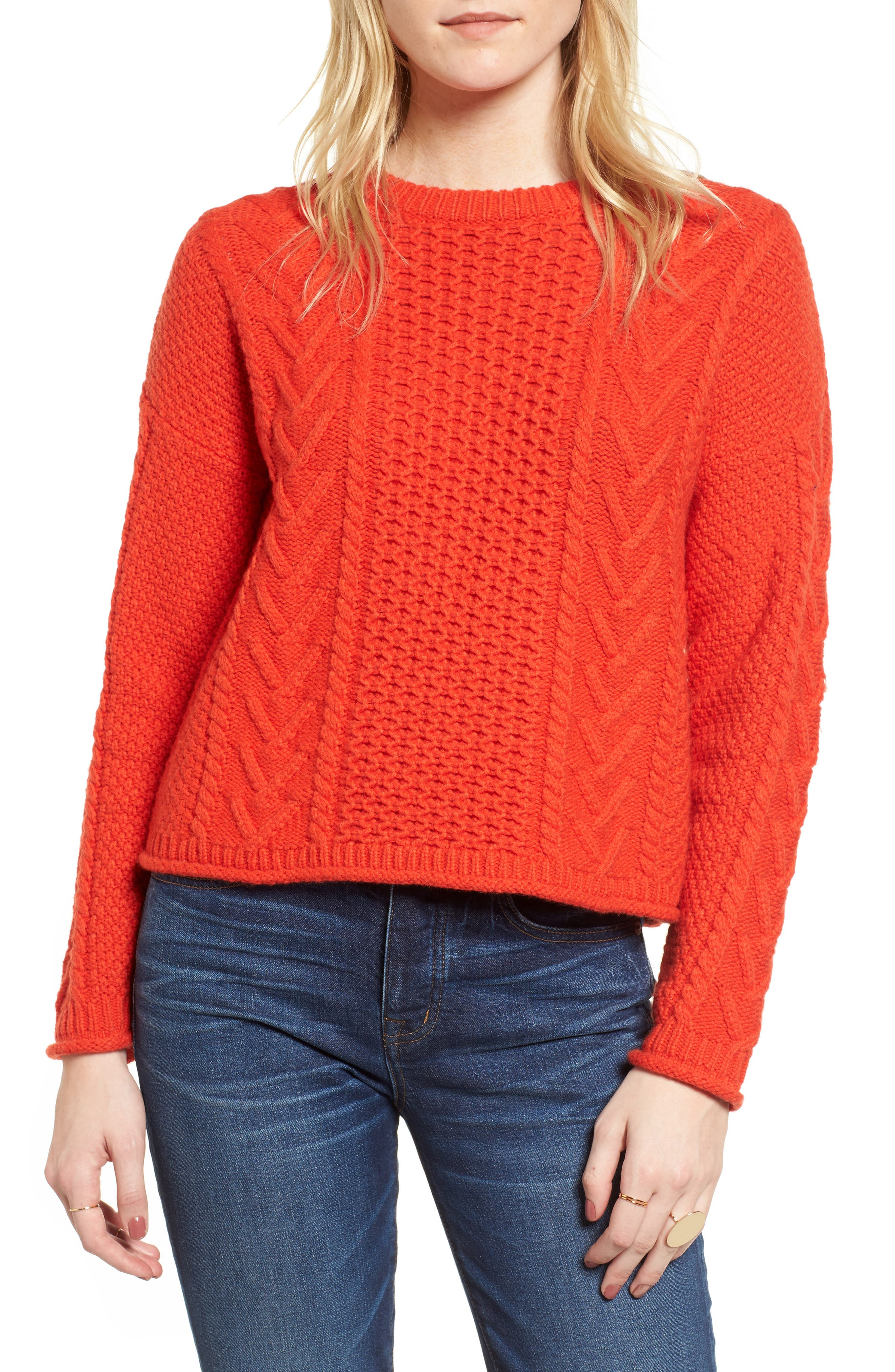 Cable Knit Pullover Sweater,                             Main thumbnail 1, color,
