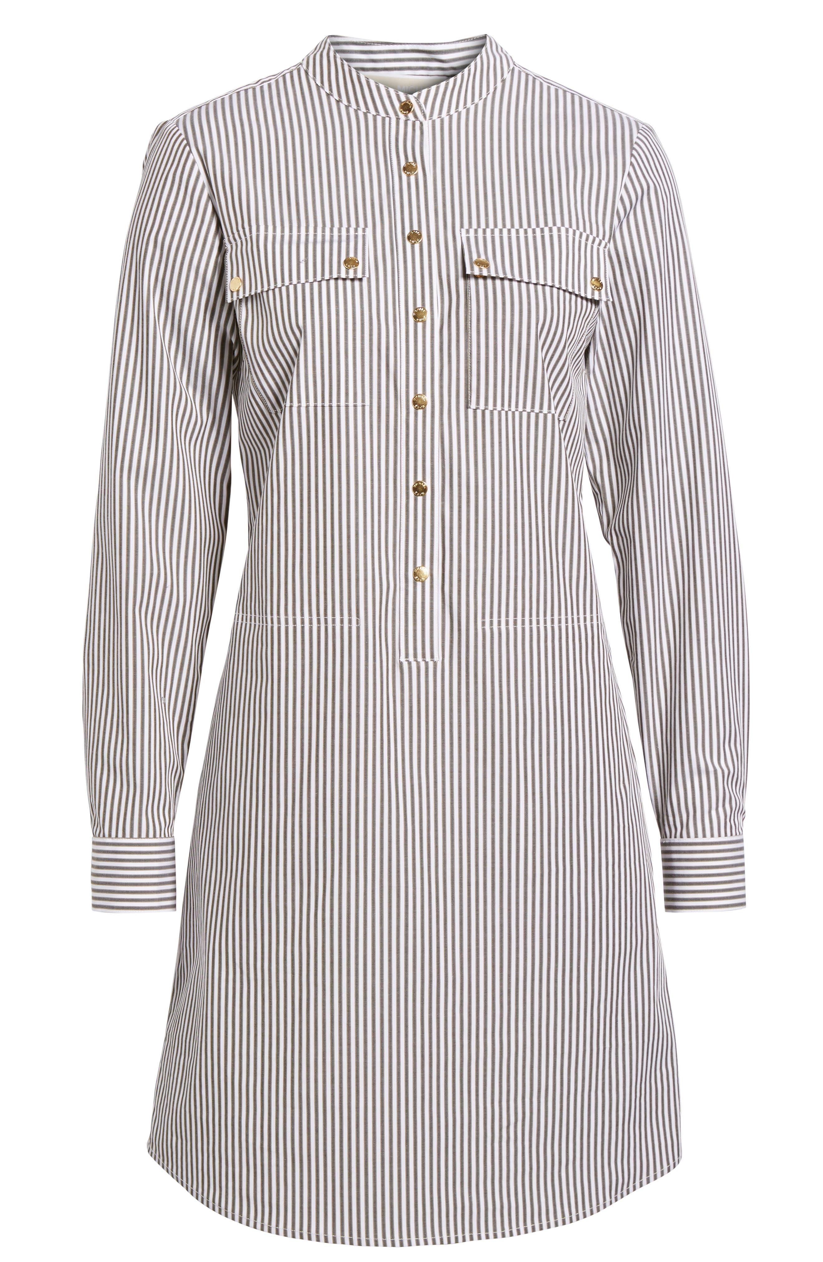 Stripe Button Down Shirtdress,                             Alternate thumbnail 6, color,                             345
