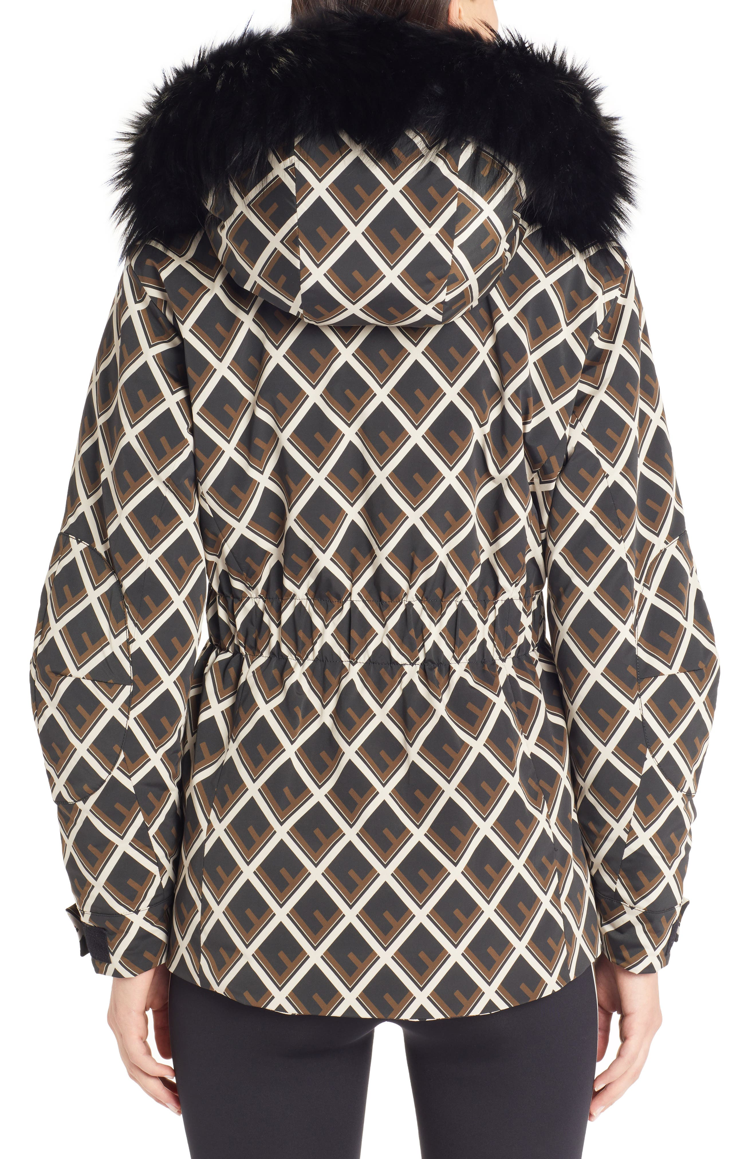 FENDI,                             Deco-F Technical Coat with Genuine Fox Fur Trim,                             Alternate thumbnail 2, color,                             BLACK