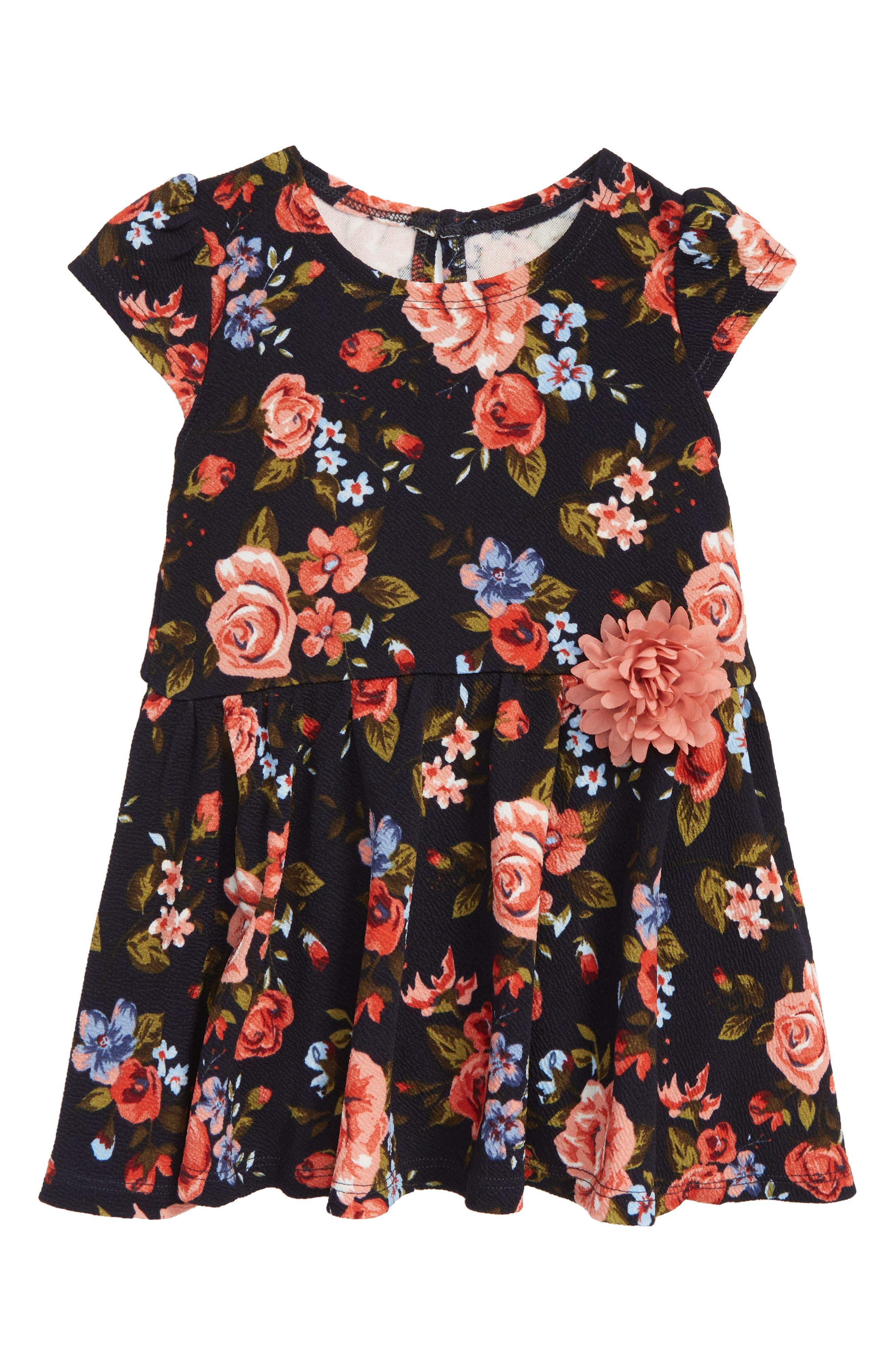 Floral Print Skater Dress,                             Main thumbnail 1, color,                             415
