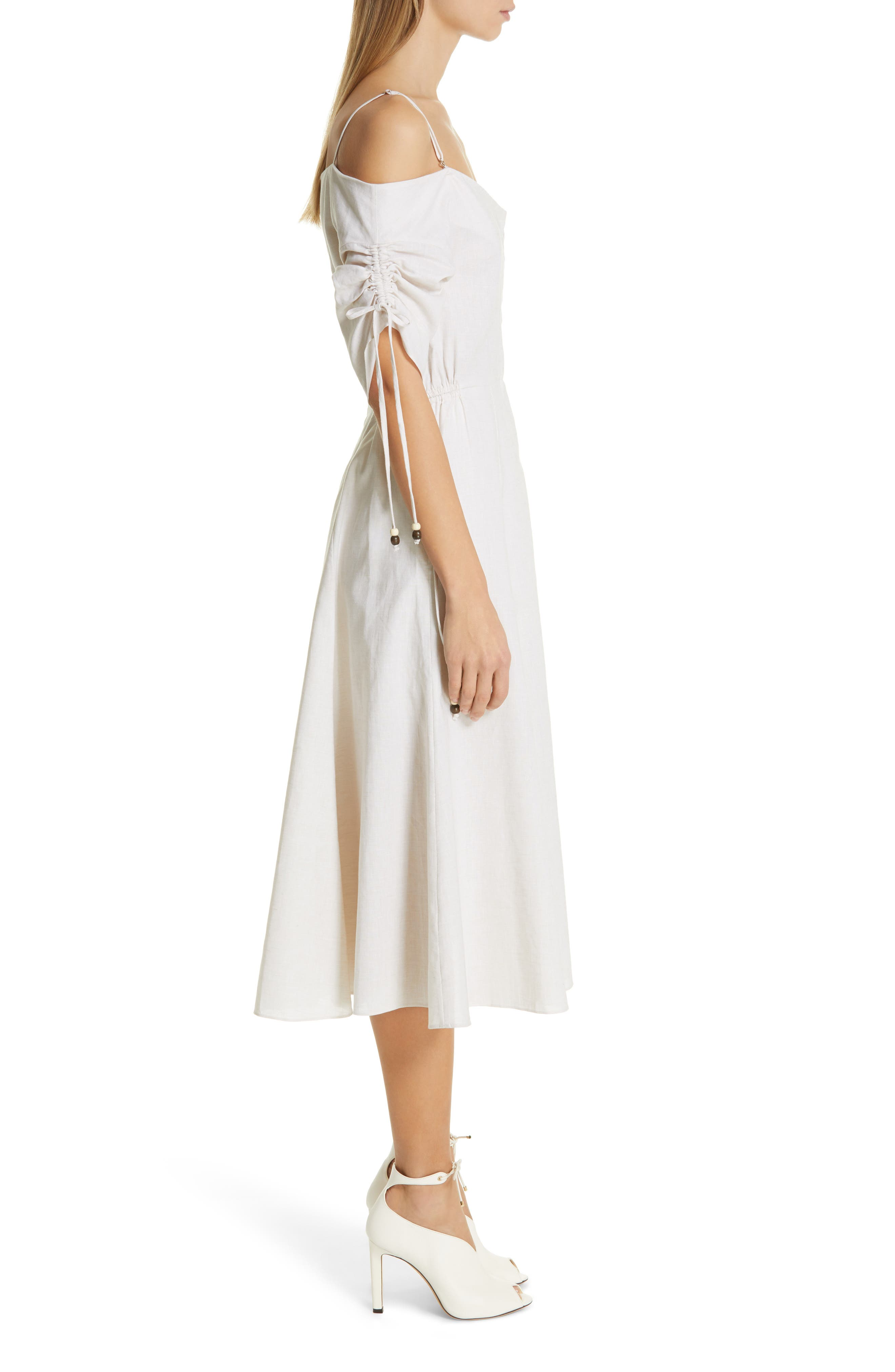JONATHAN SIMKHAI,                             Off the Shoulder Cotton & Linen Dress,                             Alternate thumbnail 3, color,                             ECRU