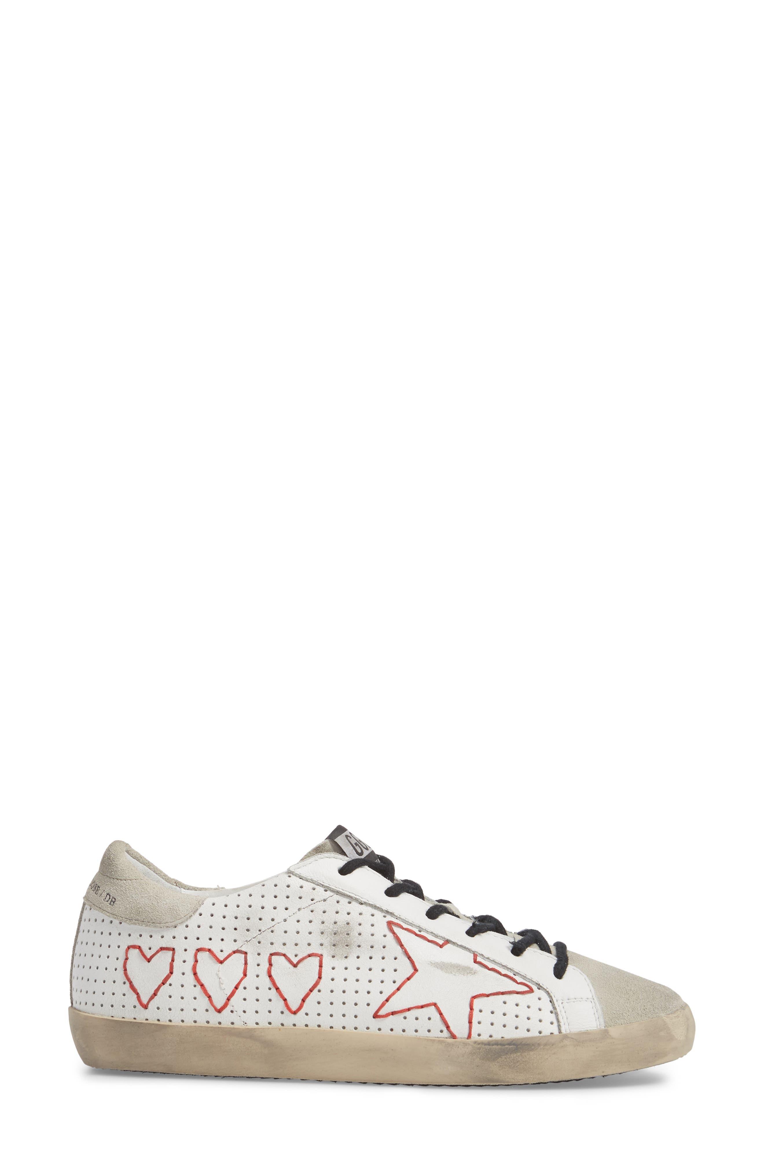 Superstar Heart Sneaker,                             Alternate thumbnail 3, color,                             100