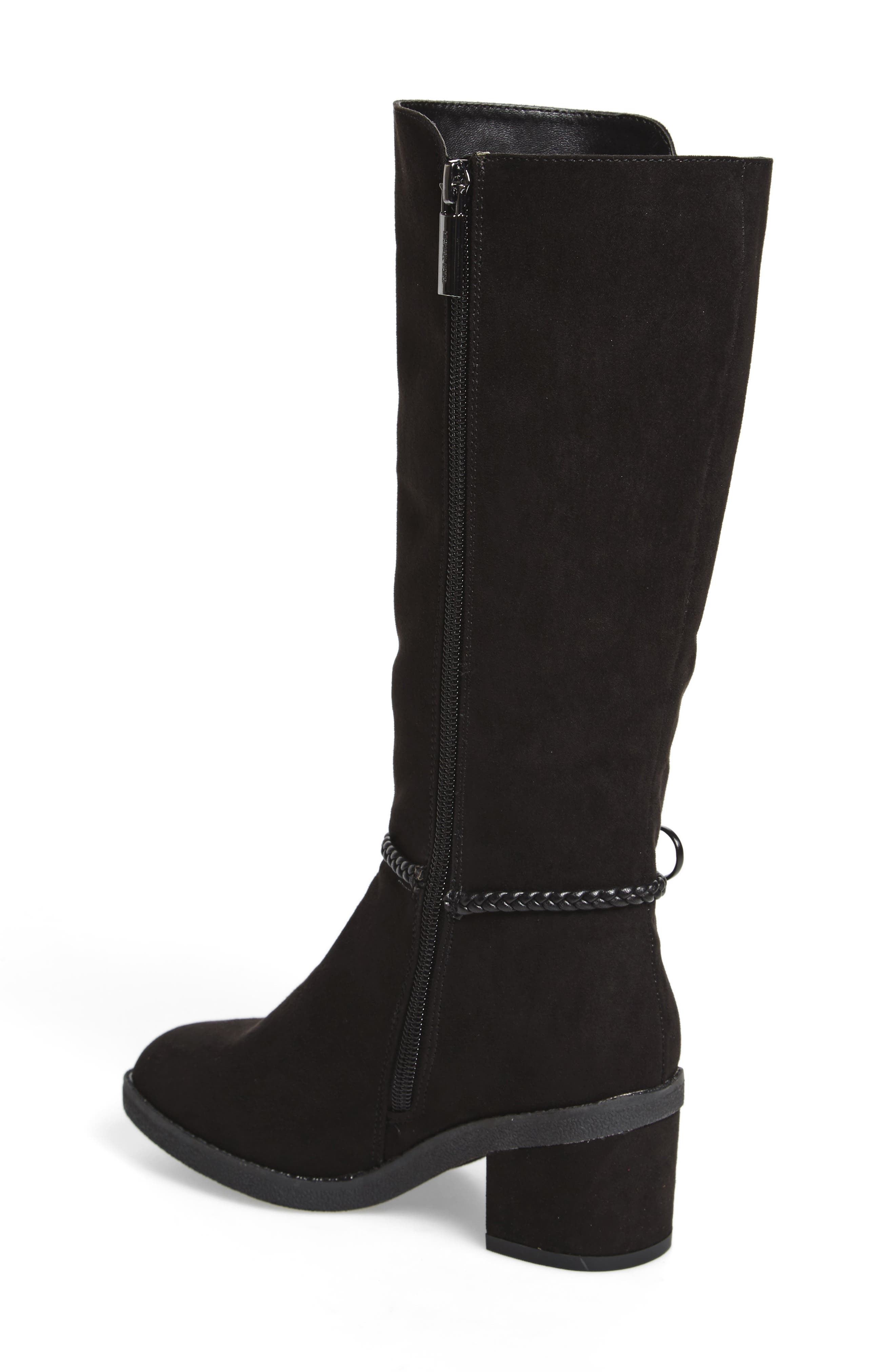 Fawn Simmy Riding Boot,                             Alternate thumbnail 2, color,                             BLACK FAUX SUEDE