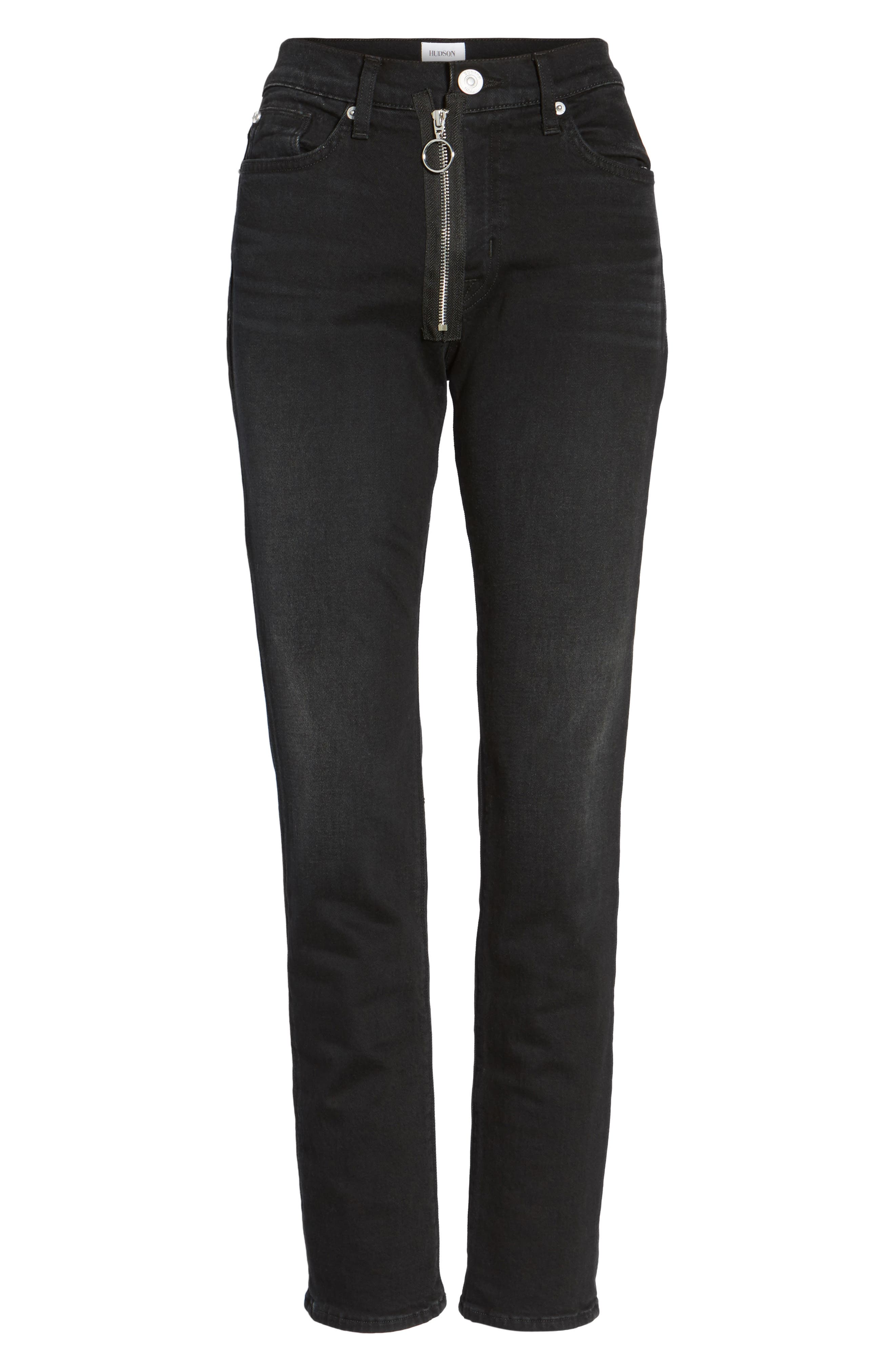 Riley Relaxed Straight Fit Jeans,                             Alternate thumbnail 6, color,                             001