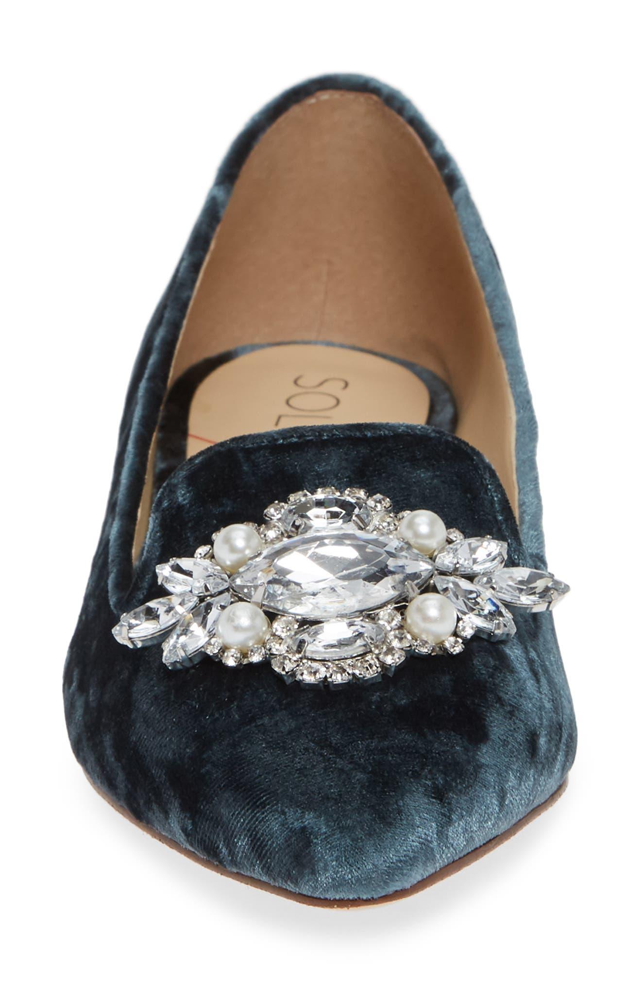 Libry Crystal Embellished Flat,                             Alternate thumbnail 4, color,                             CLOUD BLUE VELVET