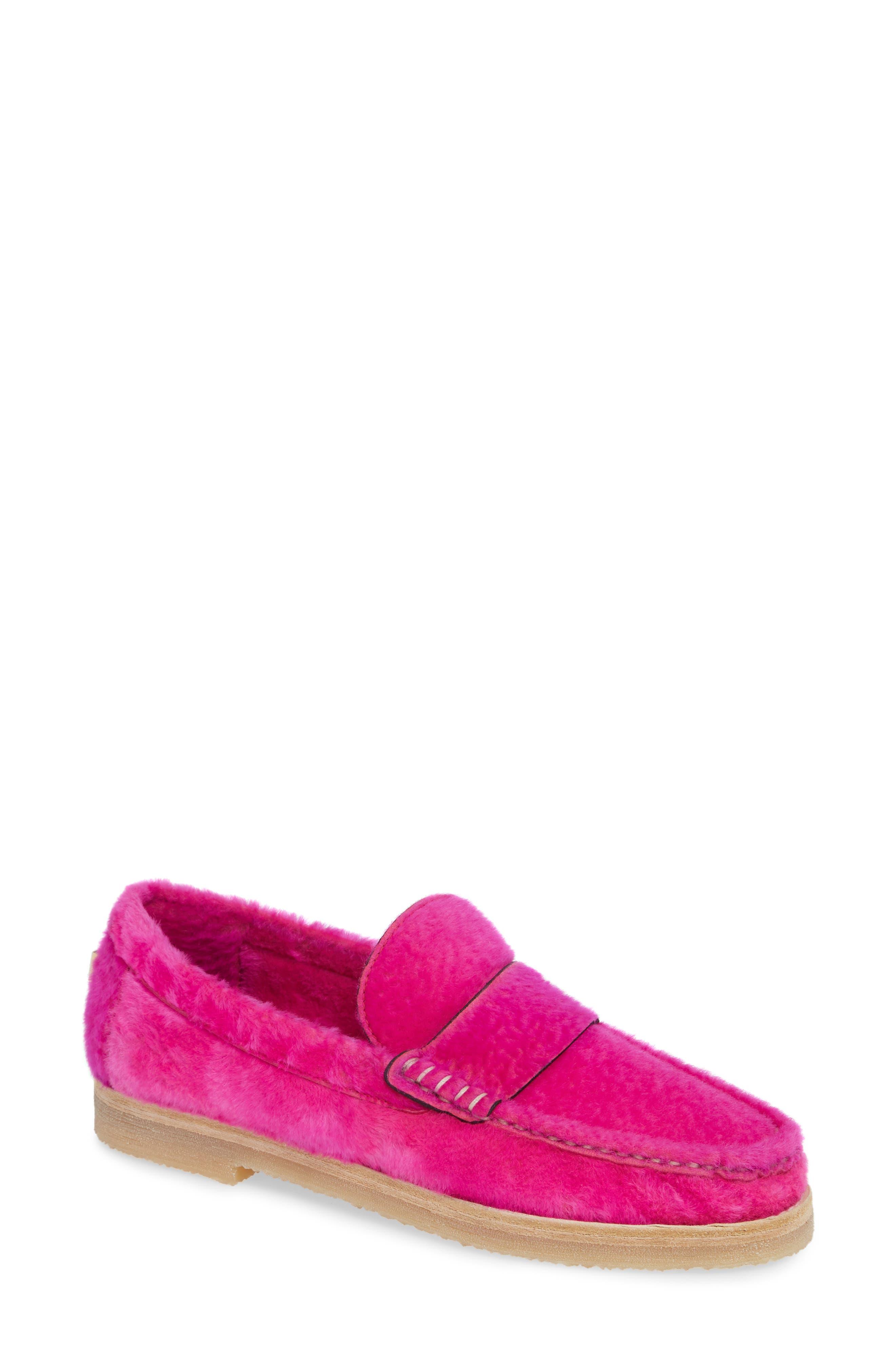 Stuart Weitzman Bromley Genuine Shearling Loafer, Pink