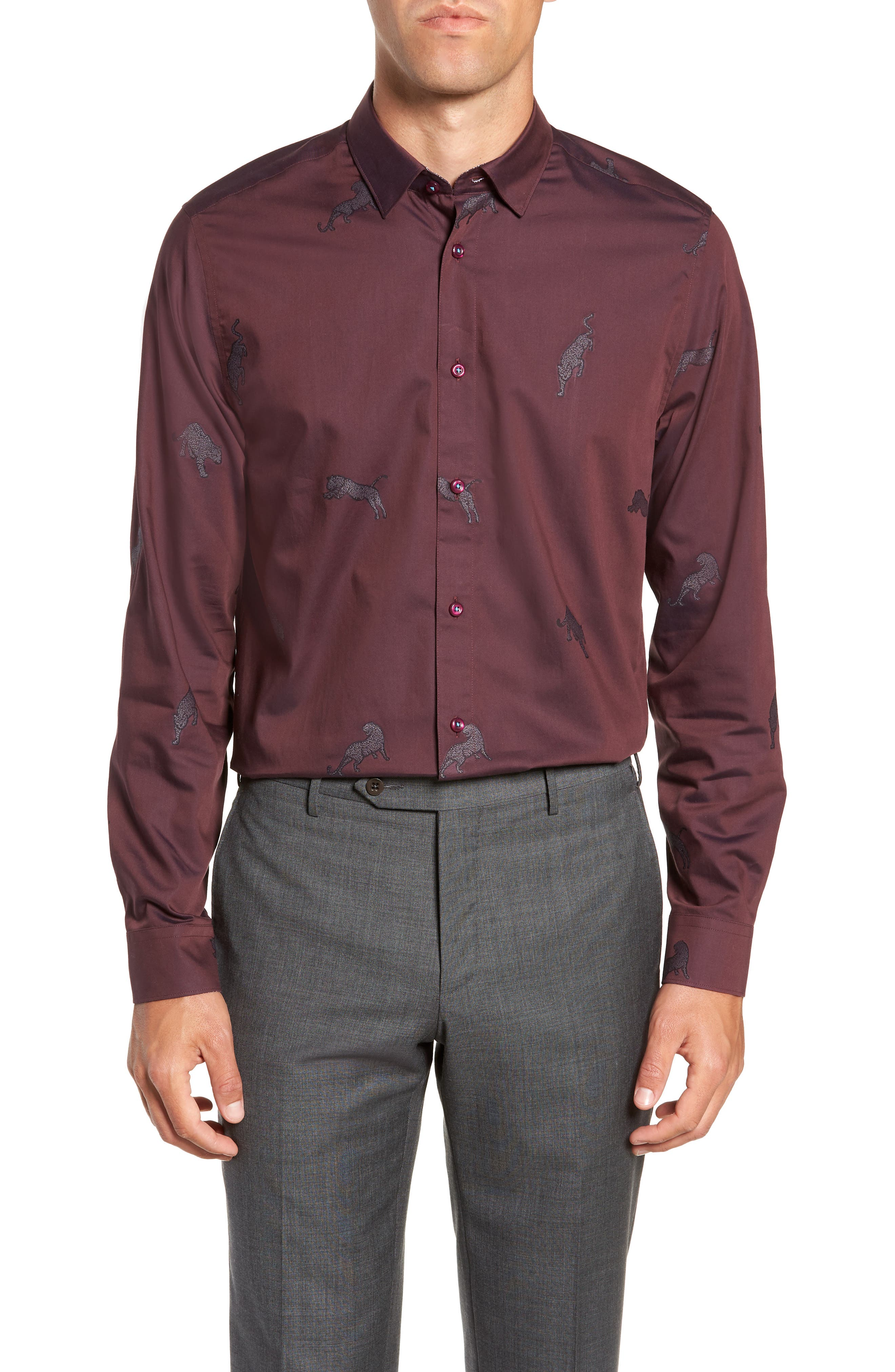 Bean Modern Fit Print Dress Shirt,                             Main thumbnail 1, color,                             DARK RED