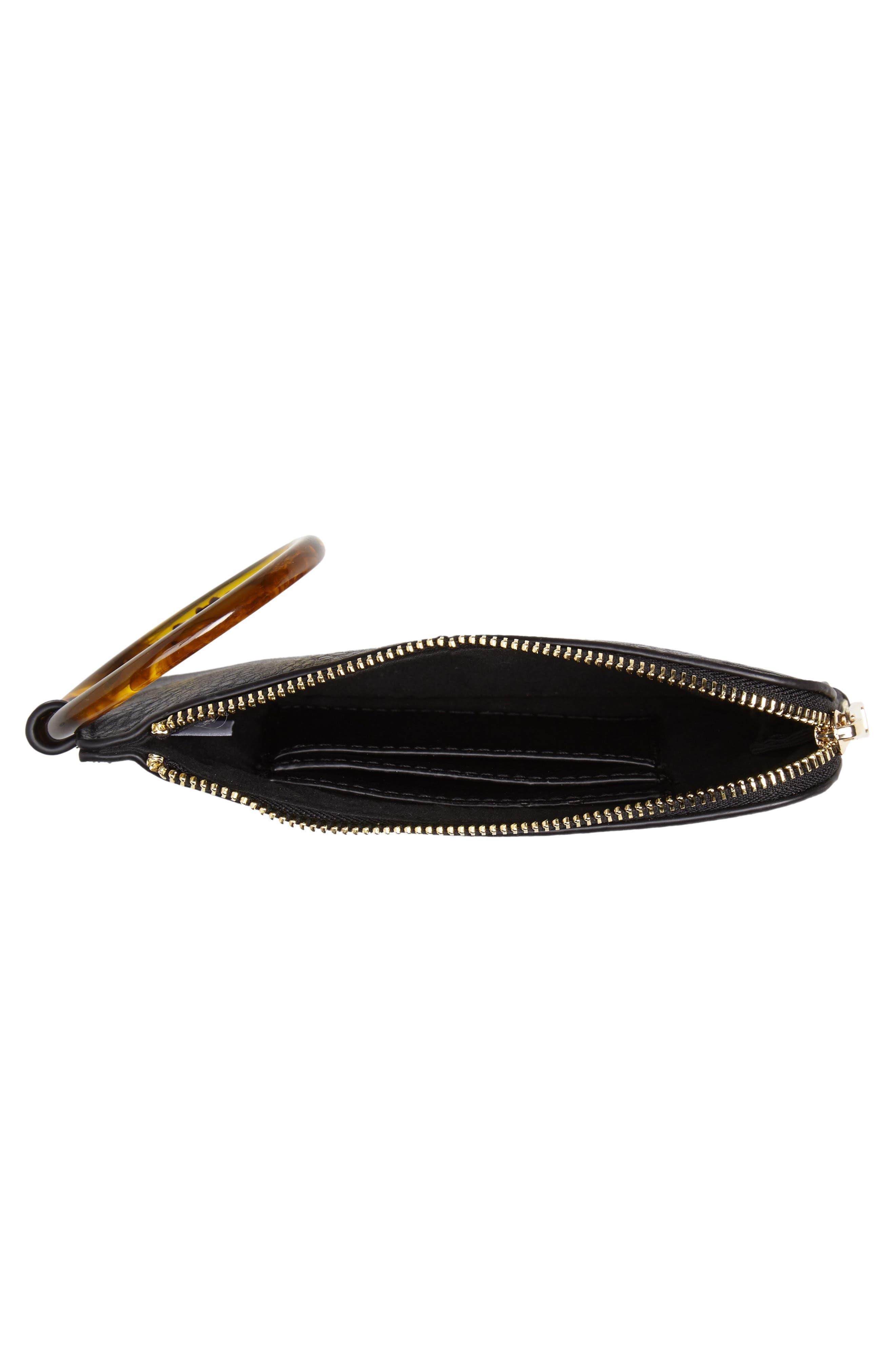 Resin Handle Mini Zip Clutch,                             Alternate thumbnail 4, color,                             BLACK