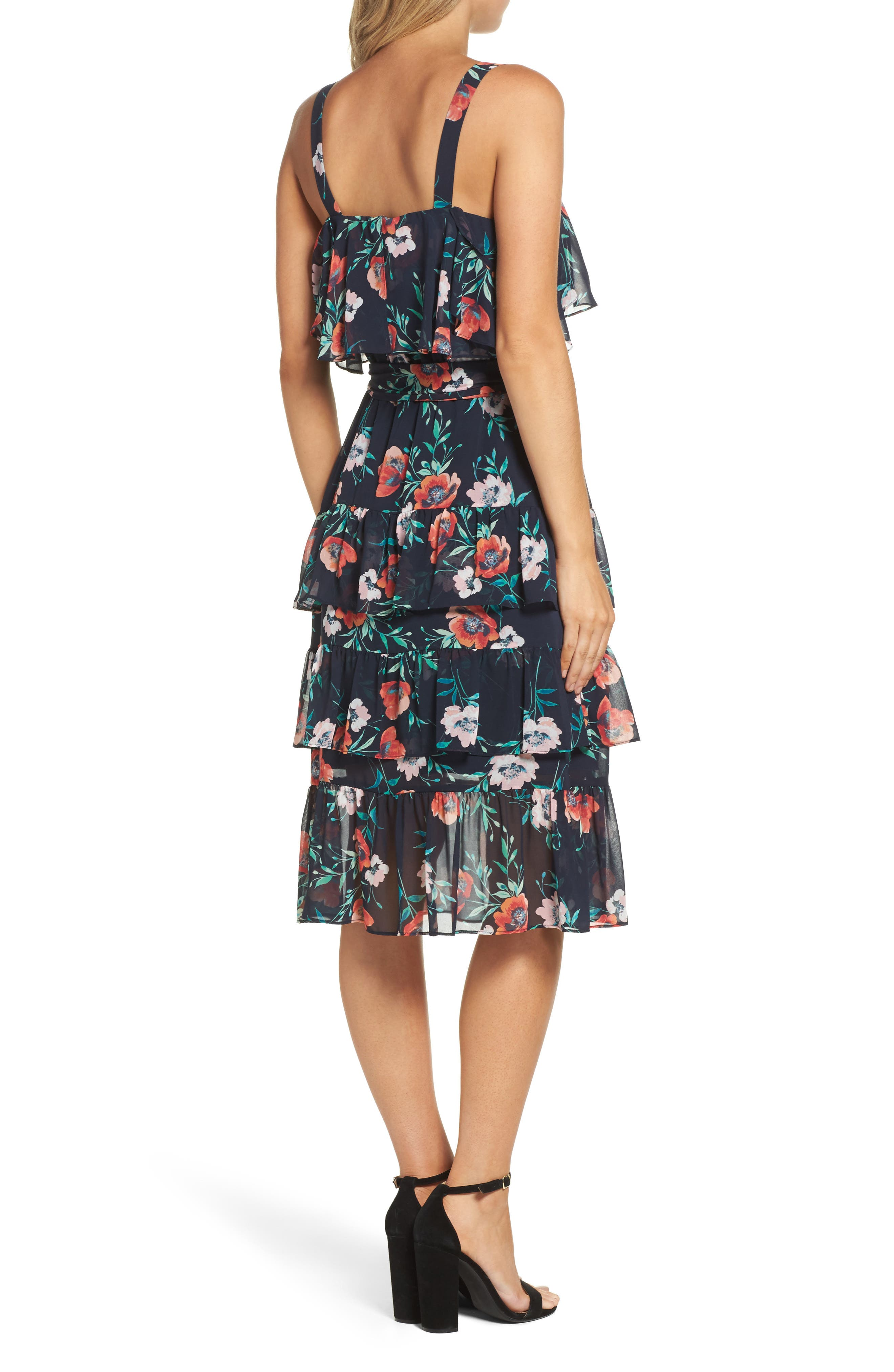 Floral Ruffle Dress,                             Alternate thumbnail 2, color,                             410