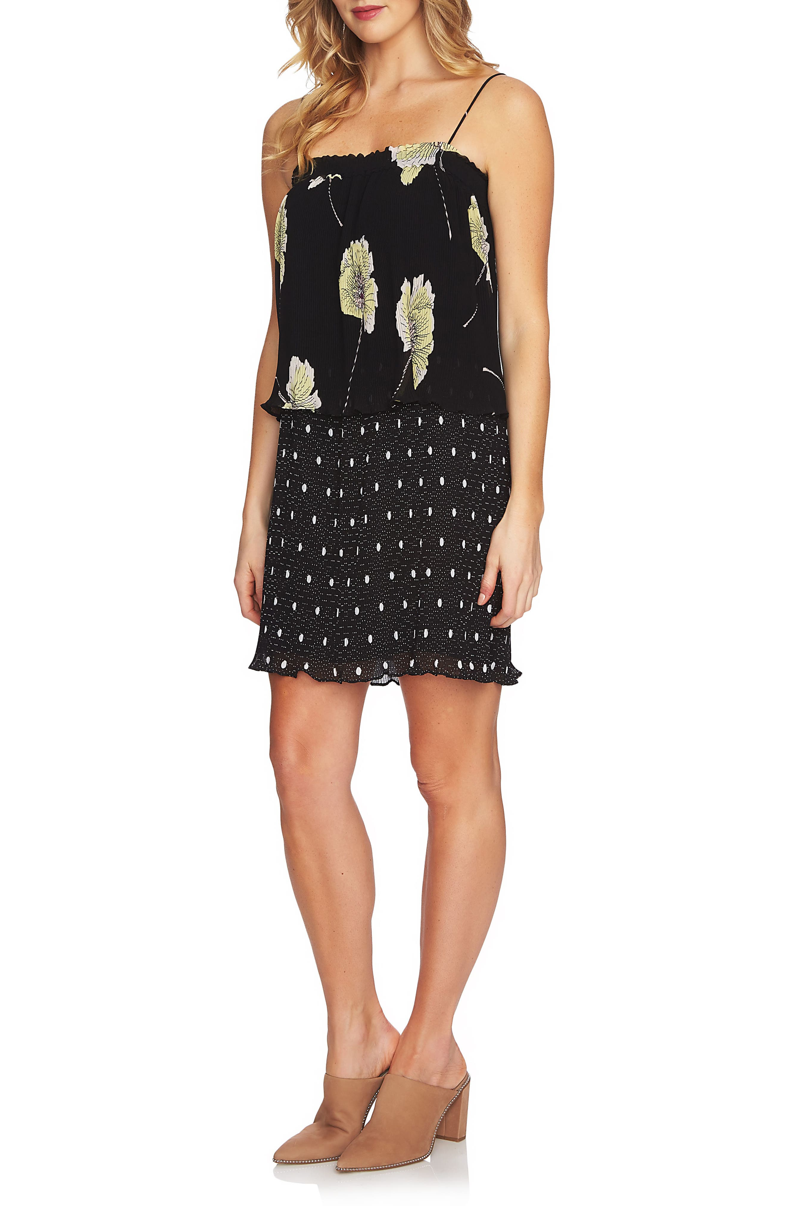 Mixed Print Pleated Shift Dress,                         Main,                         color, 001