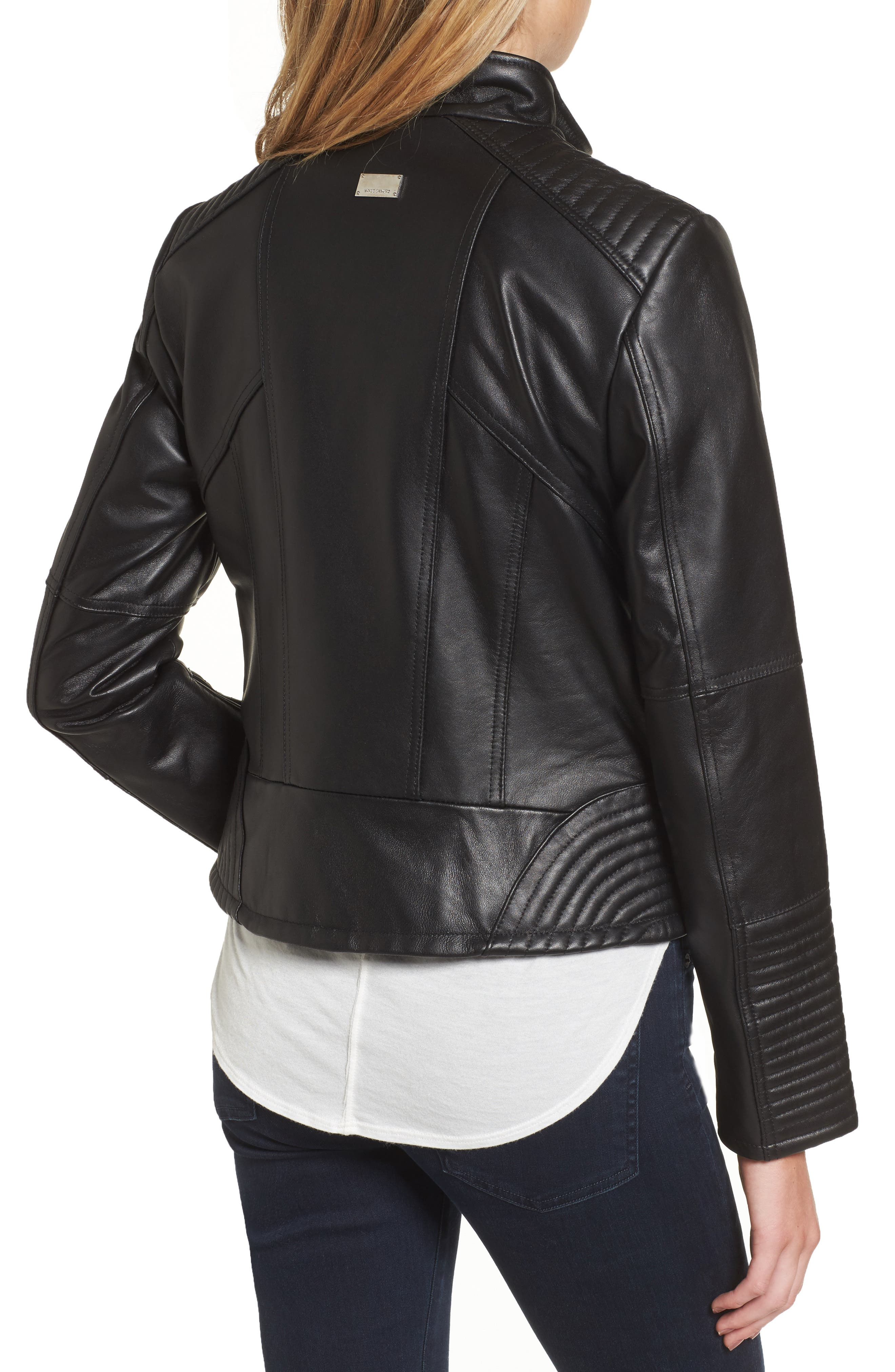 Double Zip Leather Moto Jacket,                             Alternate thumbnail 2, color,