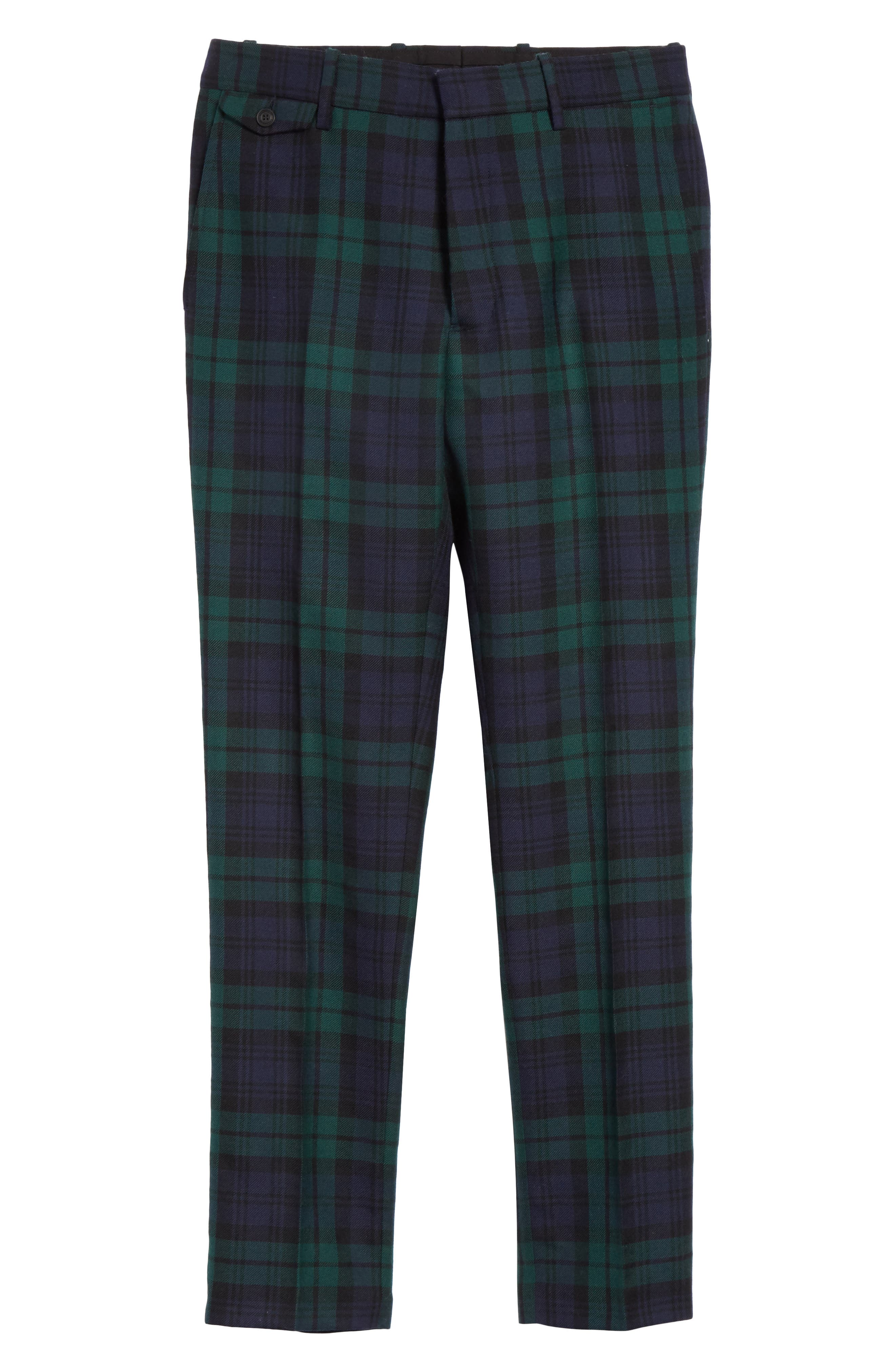 BURBERRY,                             Serpentine Check Wool Pants,                             Alternate thumbnail 6, color,                             410