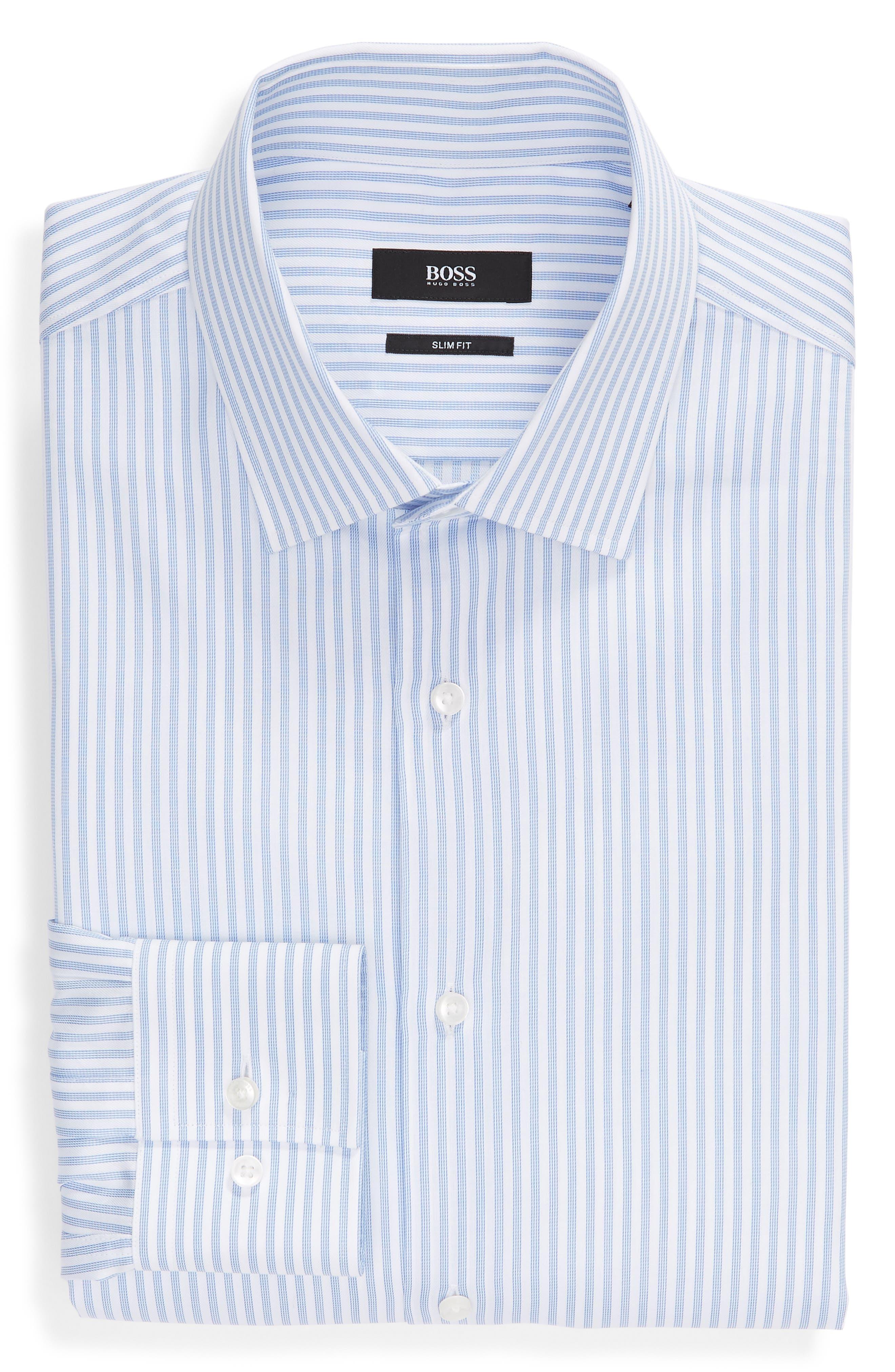 Jenno Trim Fit Stripe Dress Shirt,                             Alternate thumbnail 5, color,                             BLUE