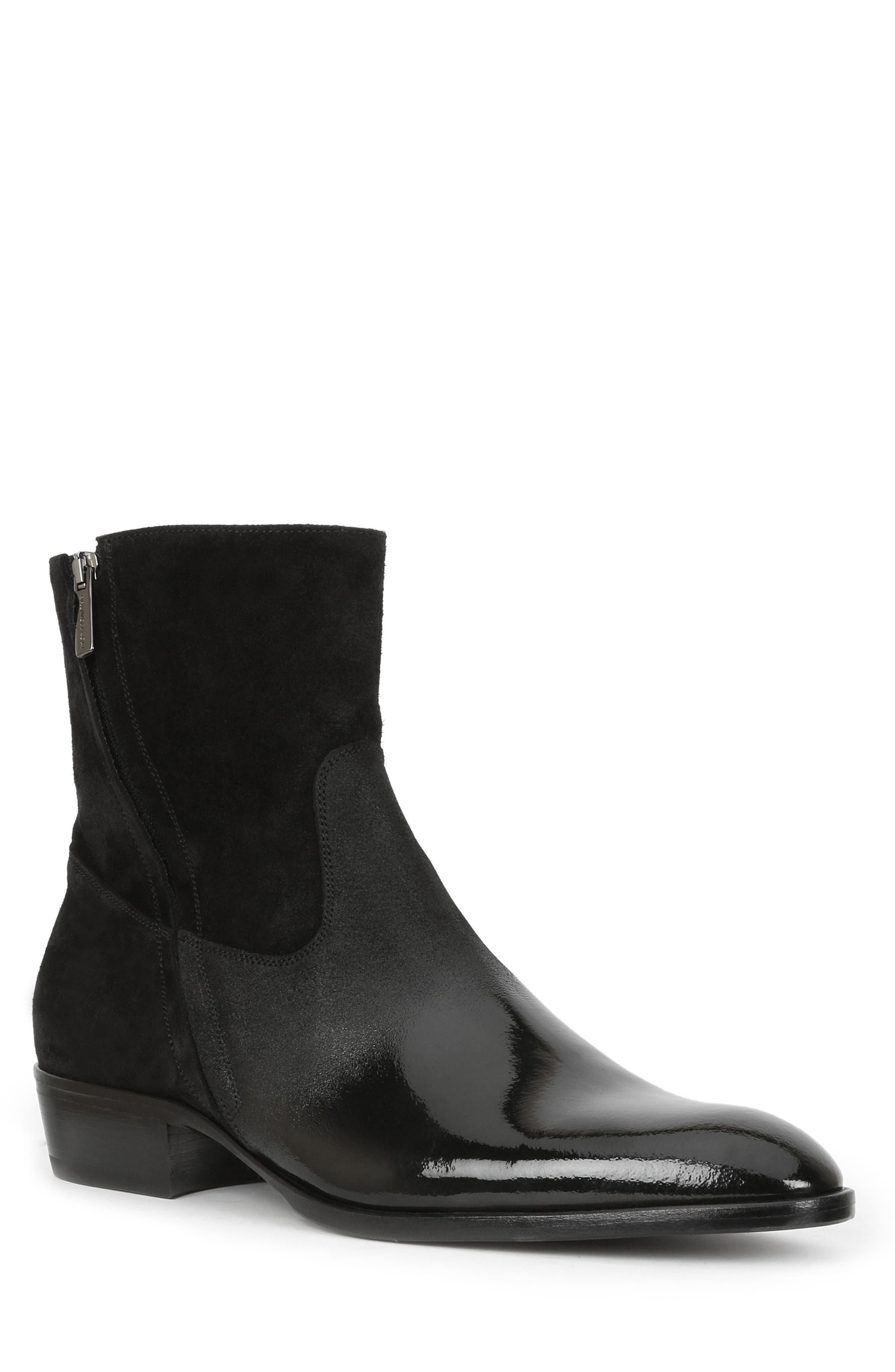 Risolo Zip Boot,                             Main thumbnail 1, color,                             BLACK LEATHER
