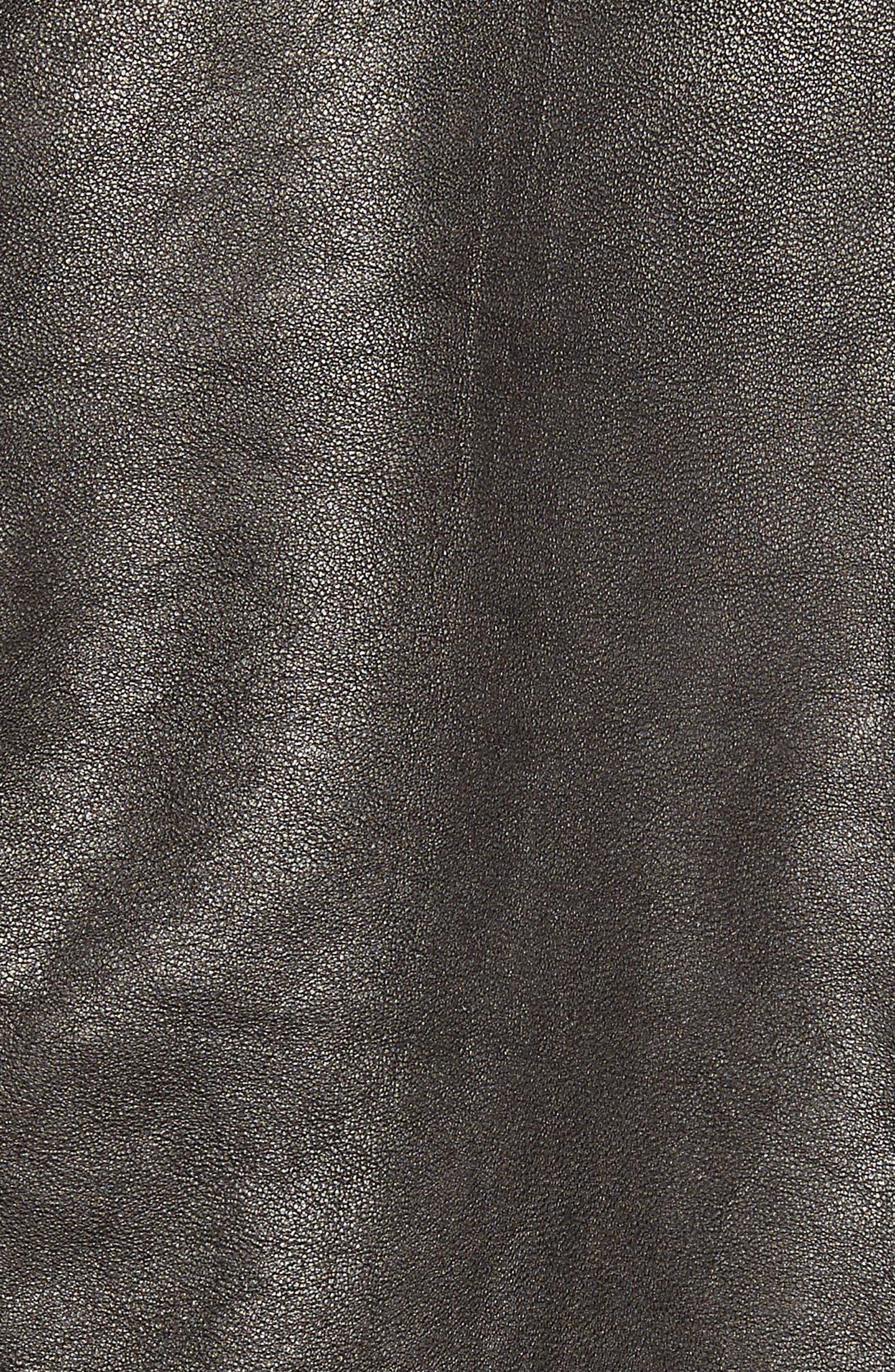 Leather Aviator Jacket,                             Alternate thumbnail 7, color,                             BLACK