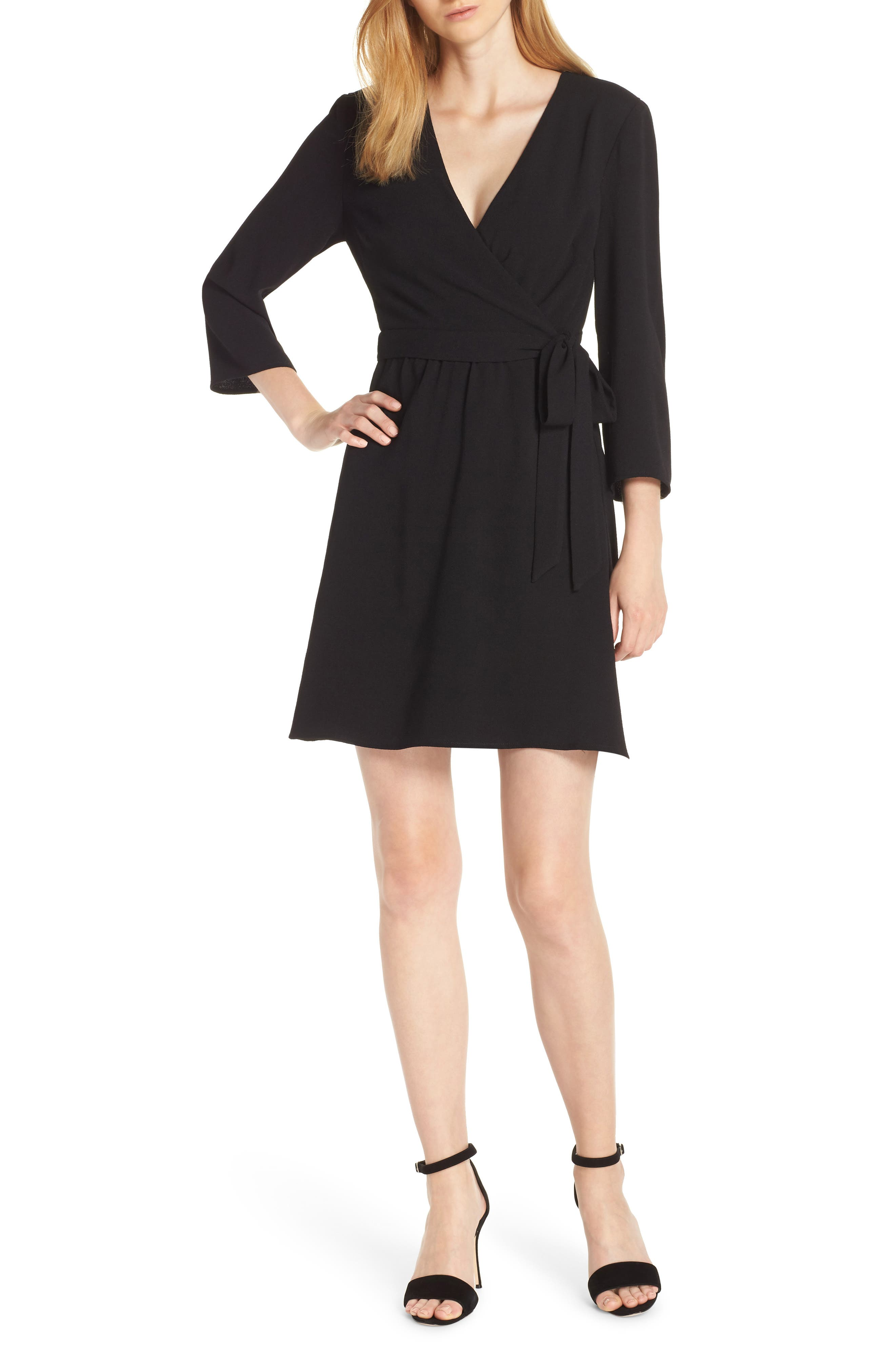 Charles Henry Faux Wrap Dress, Black