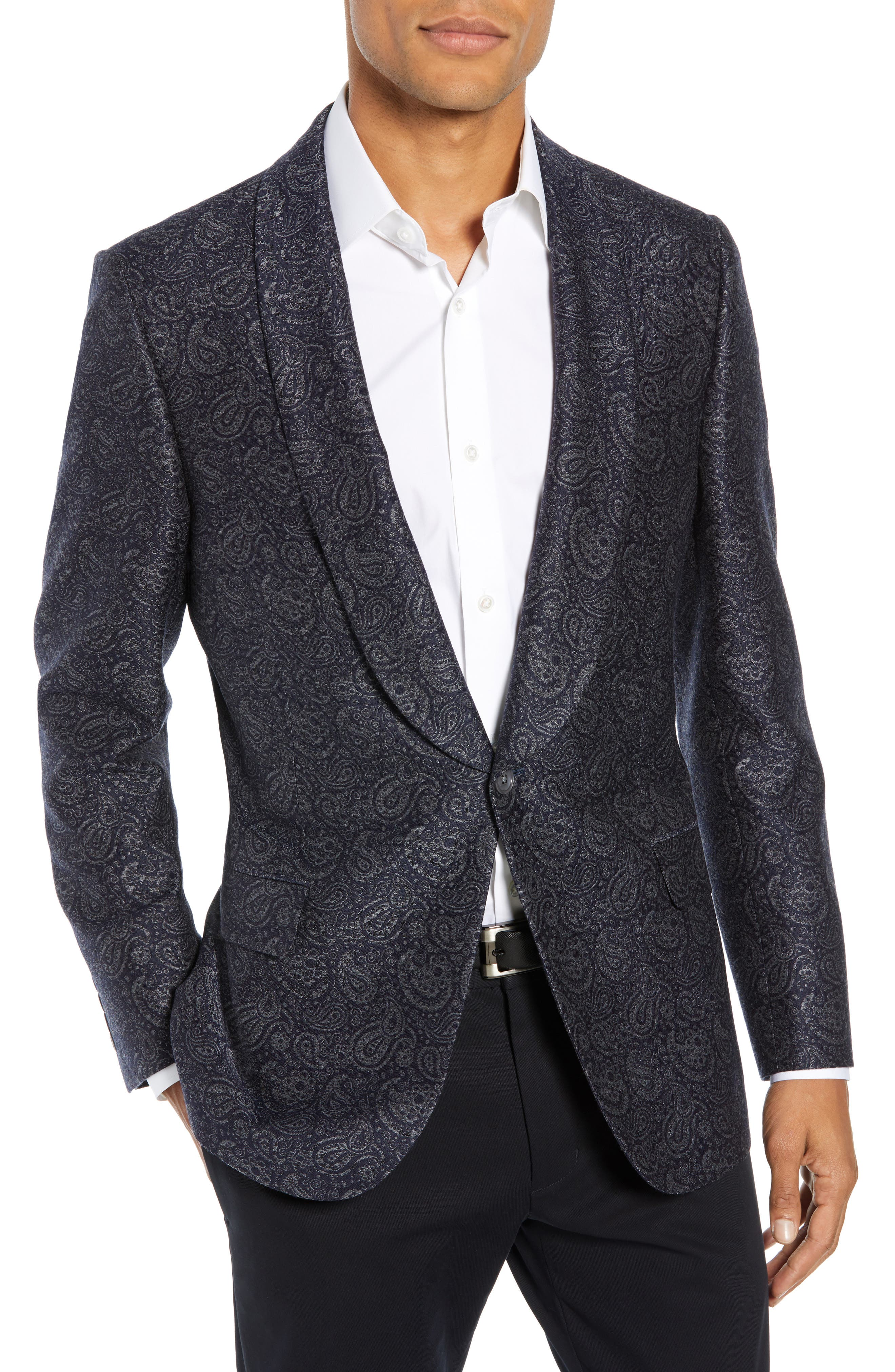 HICKEY FREEMAN Classic Fit Paisley Wool & Silk Dinner Jacket in Navy