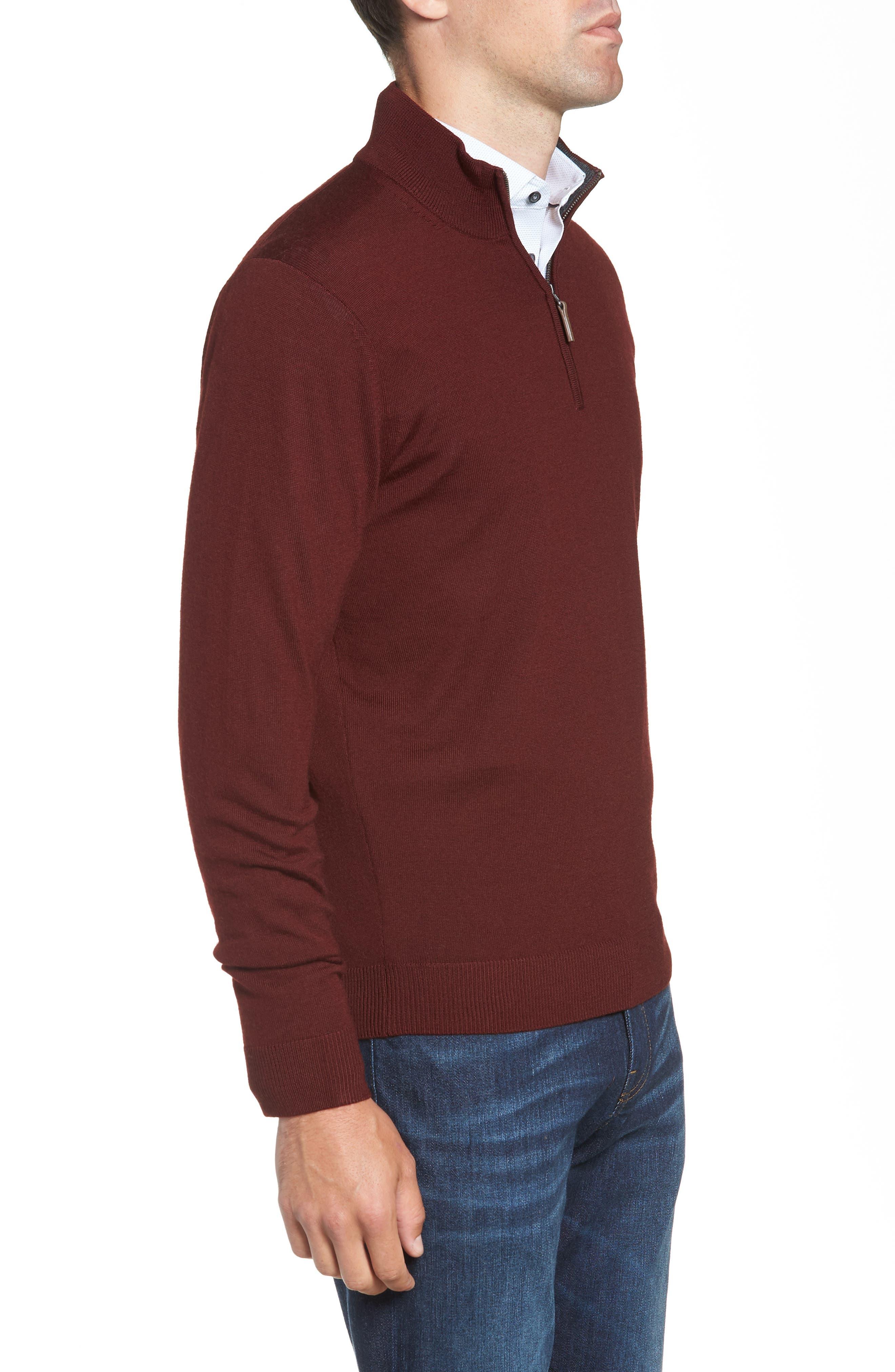 Quarter Zip Wool Pullover,                             Alternate thumbnail 3, color,                             BURGUNDY ROYALE