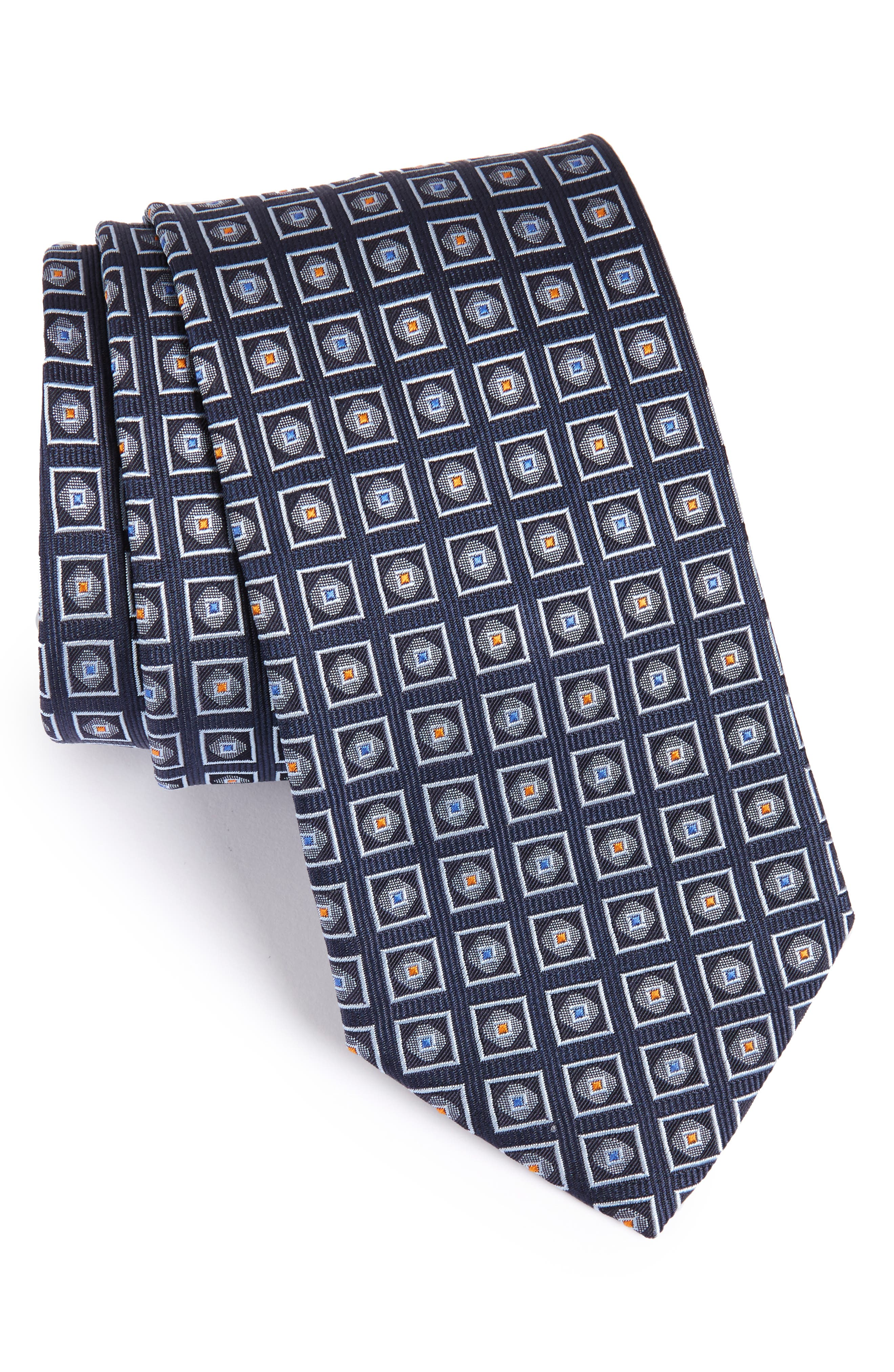 Geometric Silk Tie,                             Main thumbnail 1, color,