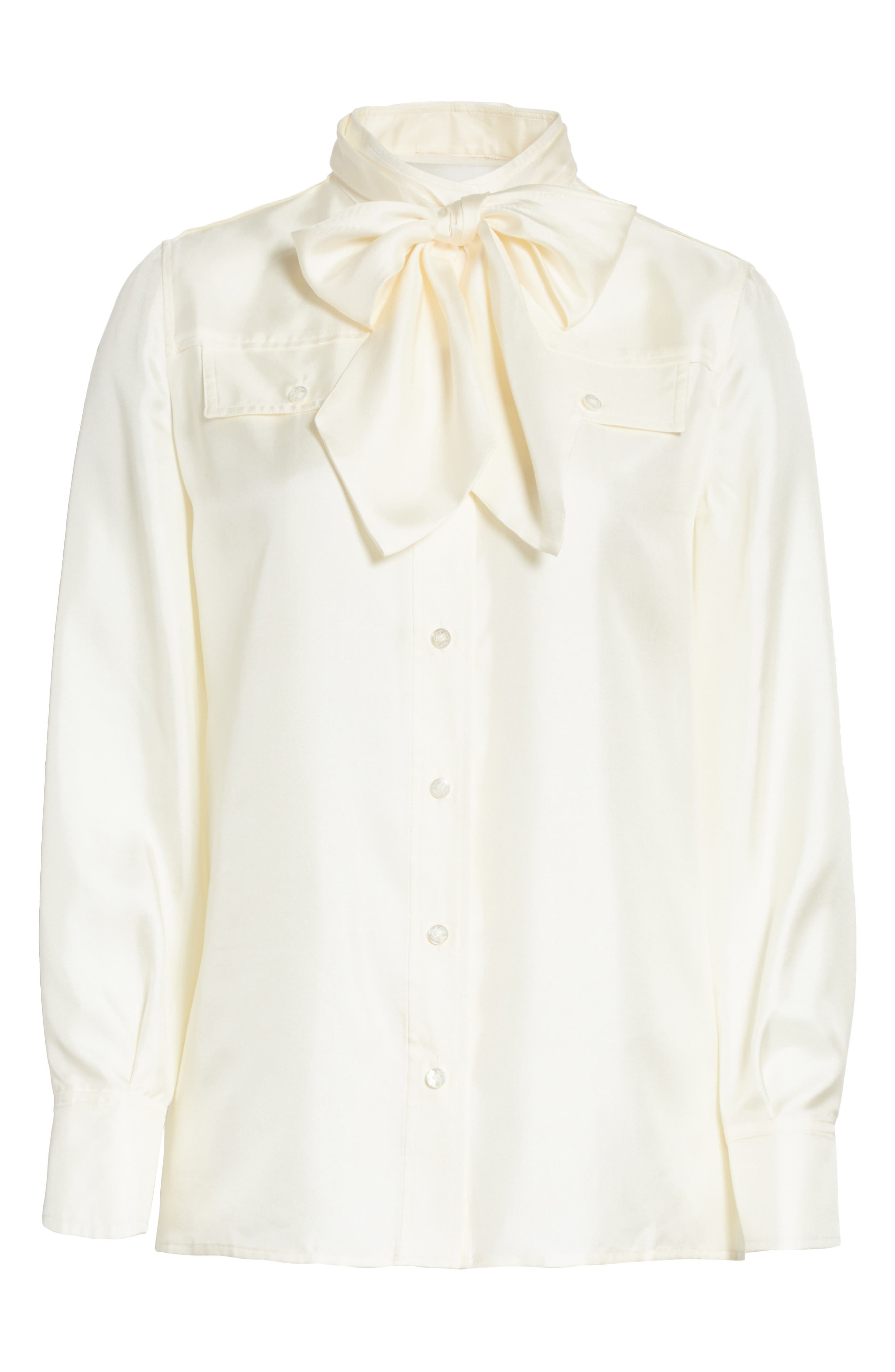 TORY BURCH,                             Holly Tie Neck Silk Blouse,                             Alternate thumbnail 6, color,                             904