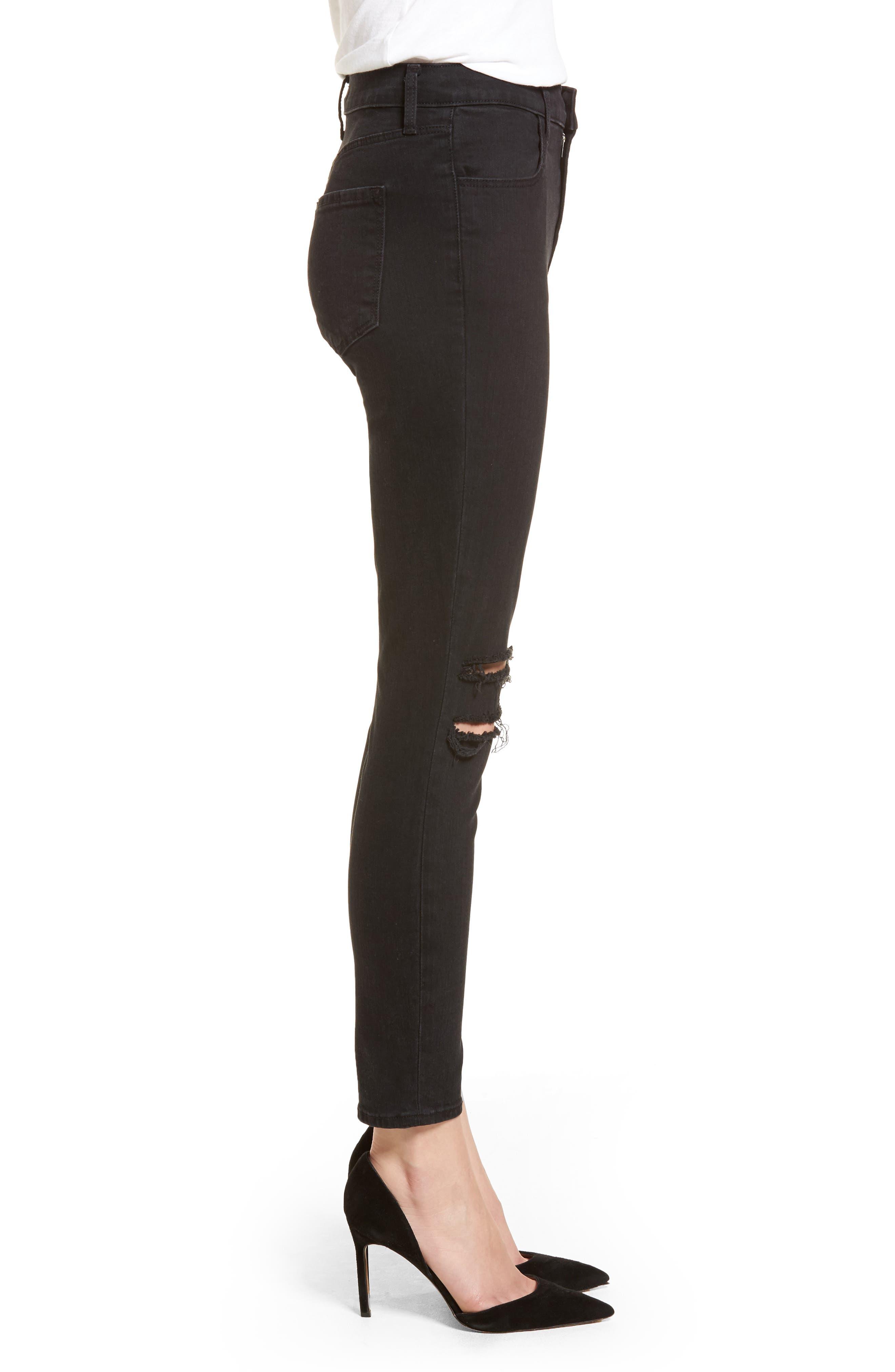 Alana High Waist Ankle Skinny Jeans,                             Alternate thumbnail 3, color,                             BLACK MERCY
