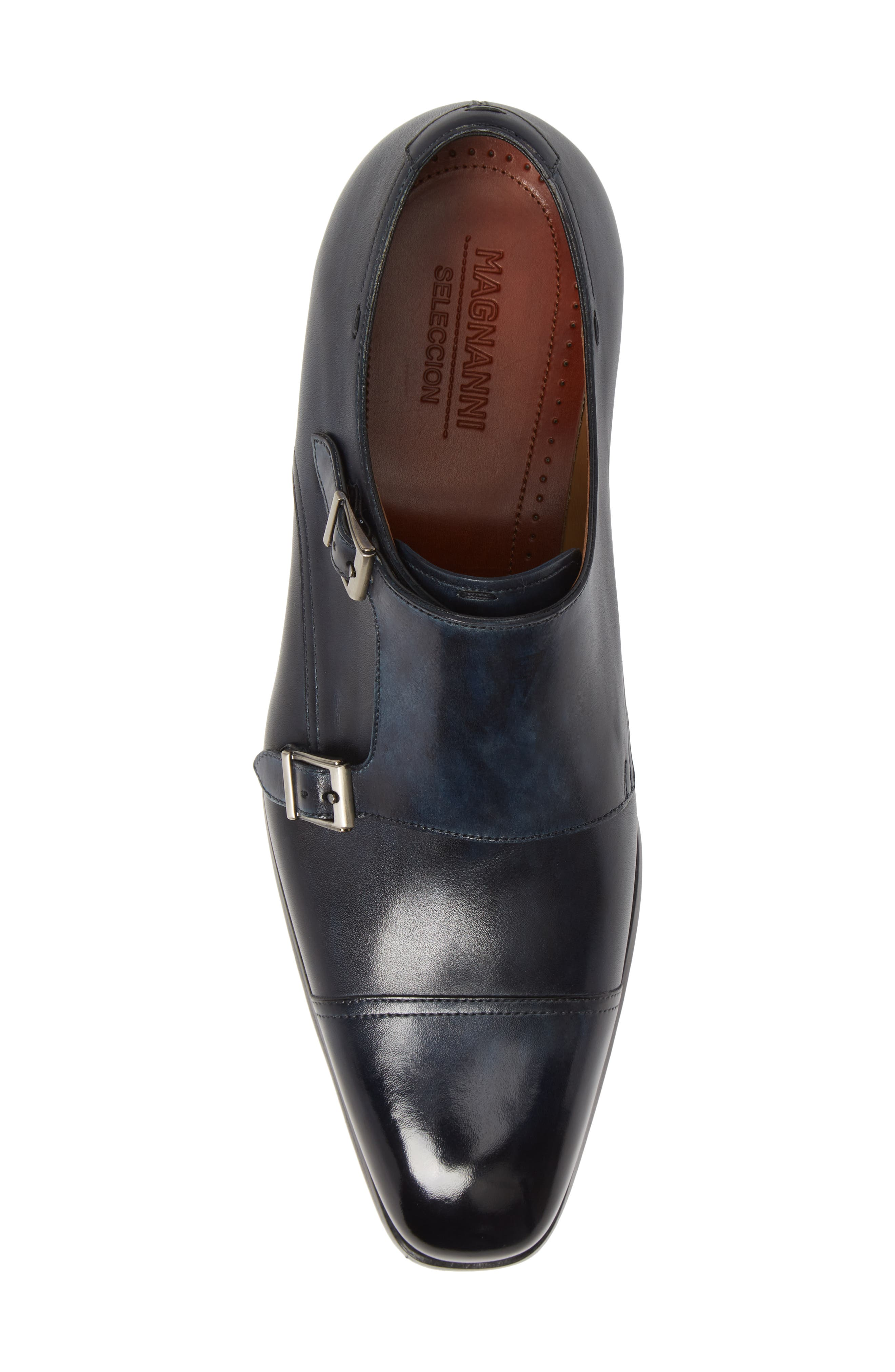 MAGNANNI,                             Wooster Double Monk Strap Shoe,                             Alternate thumbnail 5, color,                             NAVY LEATHER