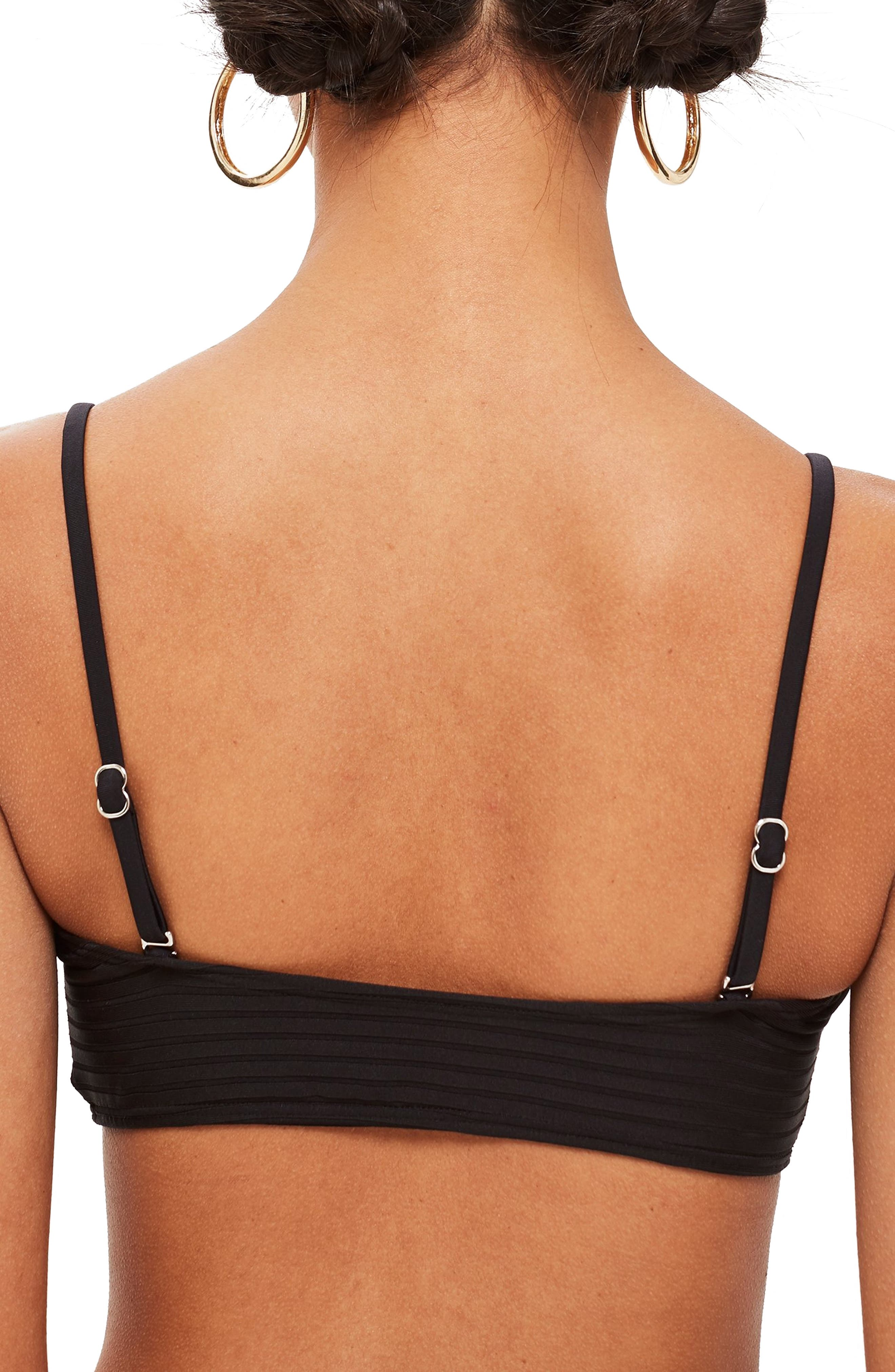 Wide Ribbed Bandeau Bikini Top,                             Alternate thumbnail 2, color,                             001