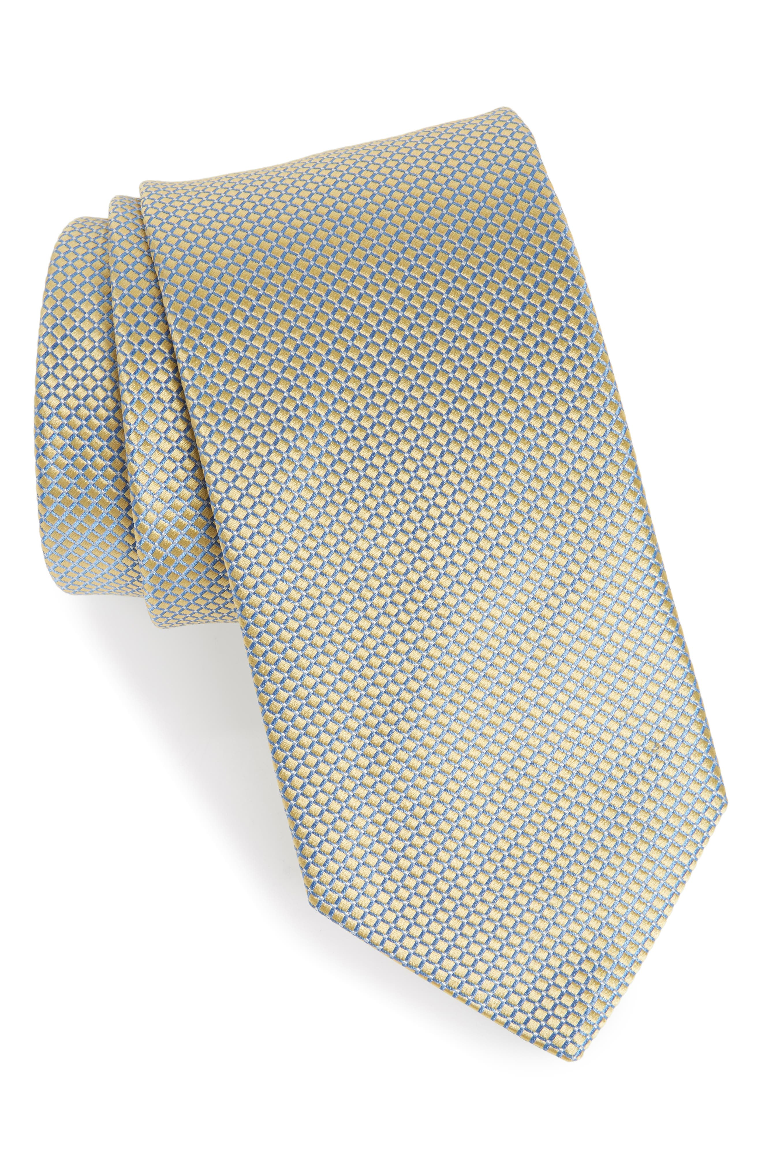 Geometric Silk Tie,                             Main thumbnail 1, color,                             YELLOW