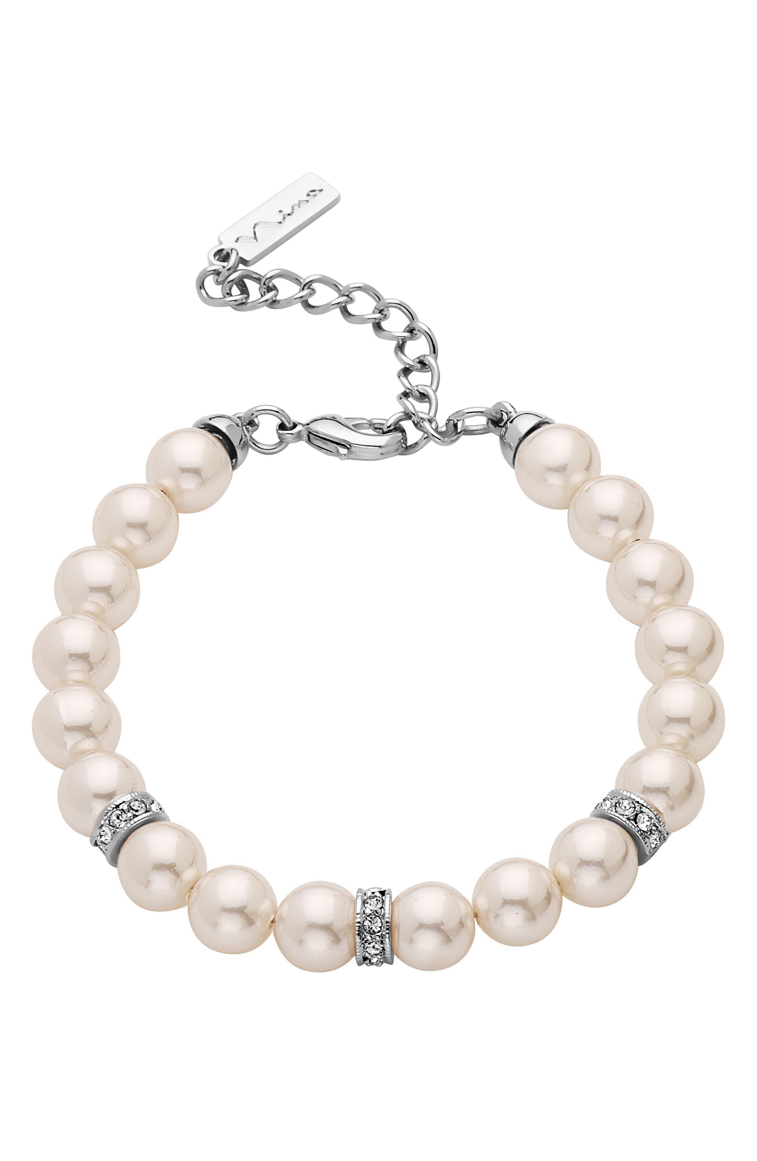 Imitation Pearl & Crystal Bracelet,                             Main thumbnail 1, color,