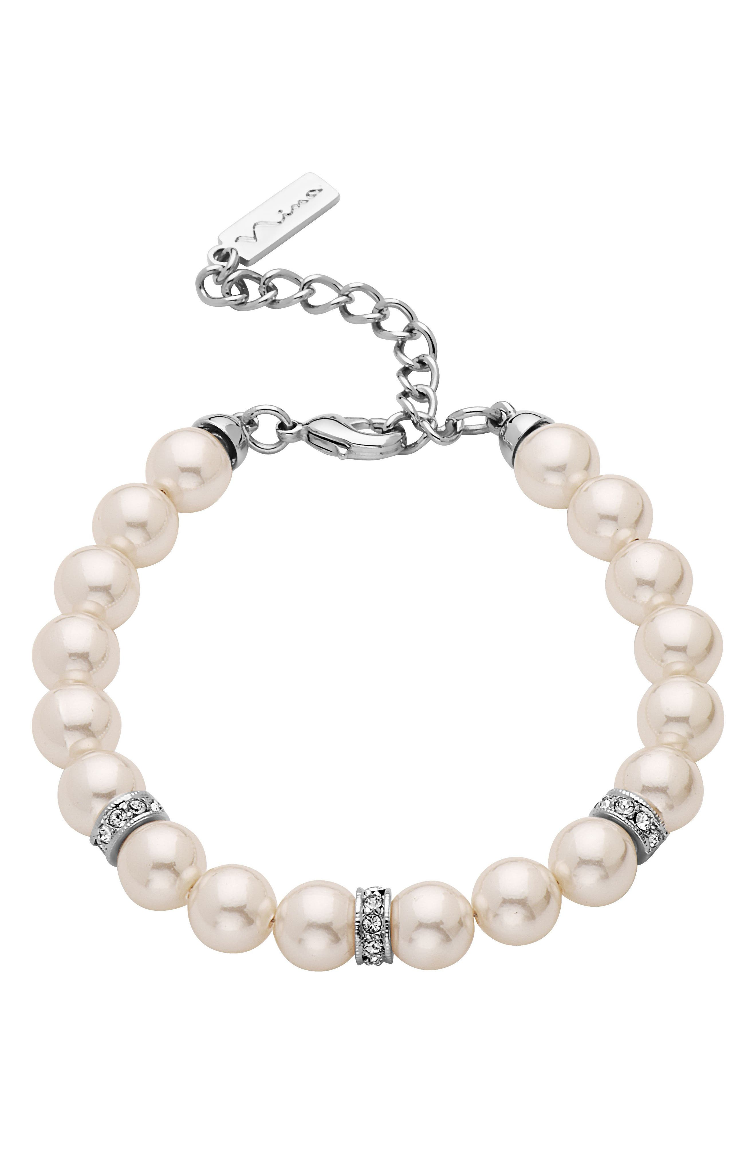 Imitation Pearl & Crystal Bracelet,                         Main,                         color,