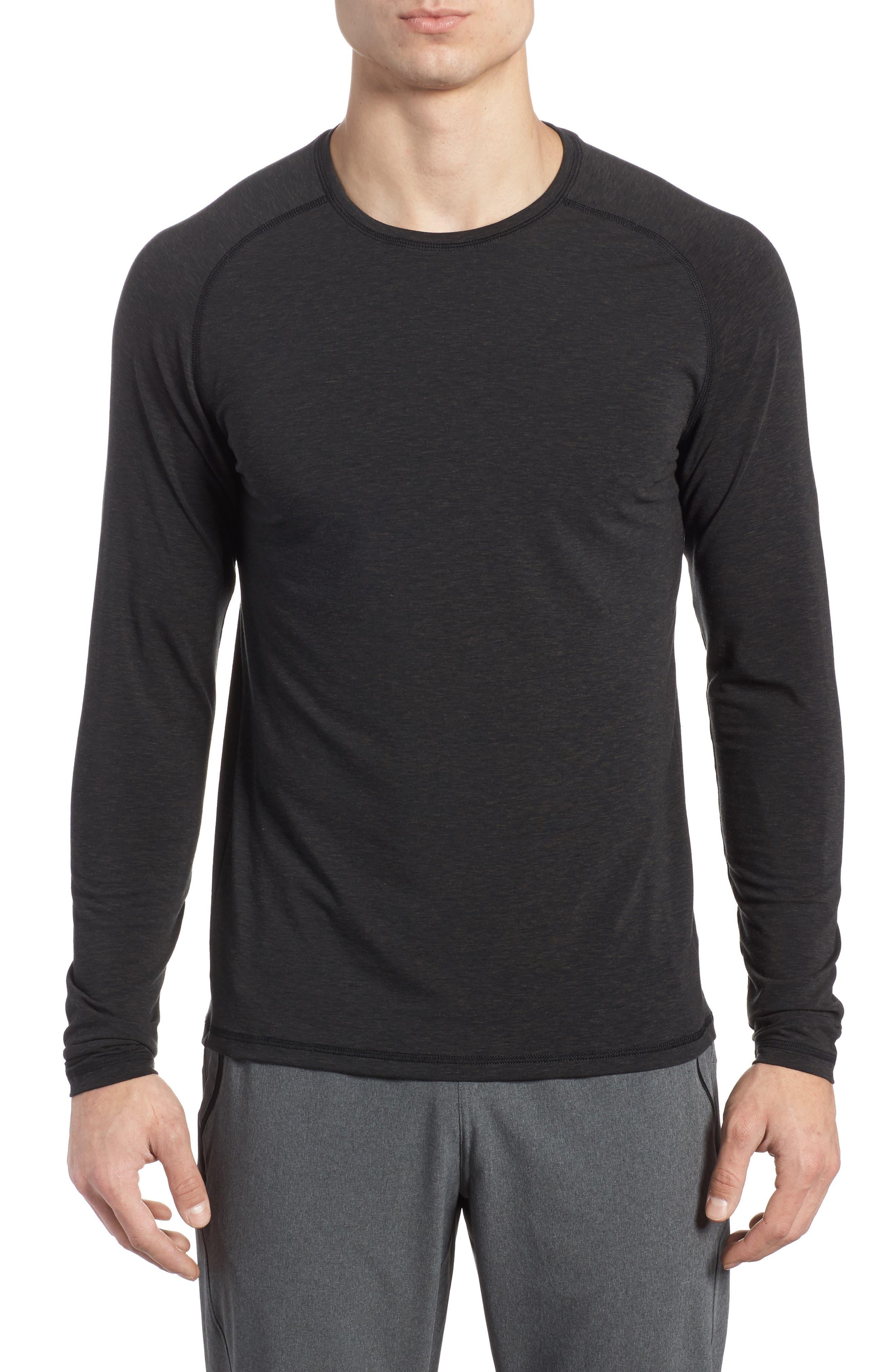 Long Sleeve T-Shirt,                         Main,                         color, BLACK OXIDE HEATHER