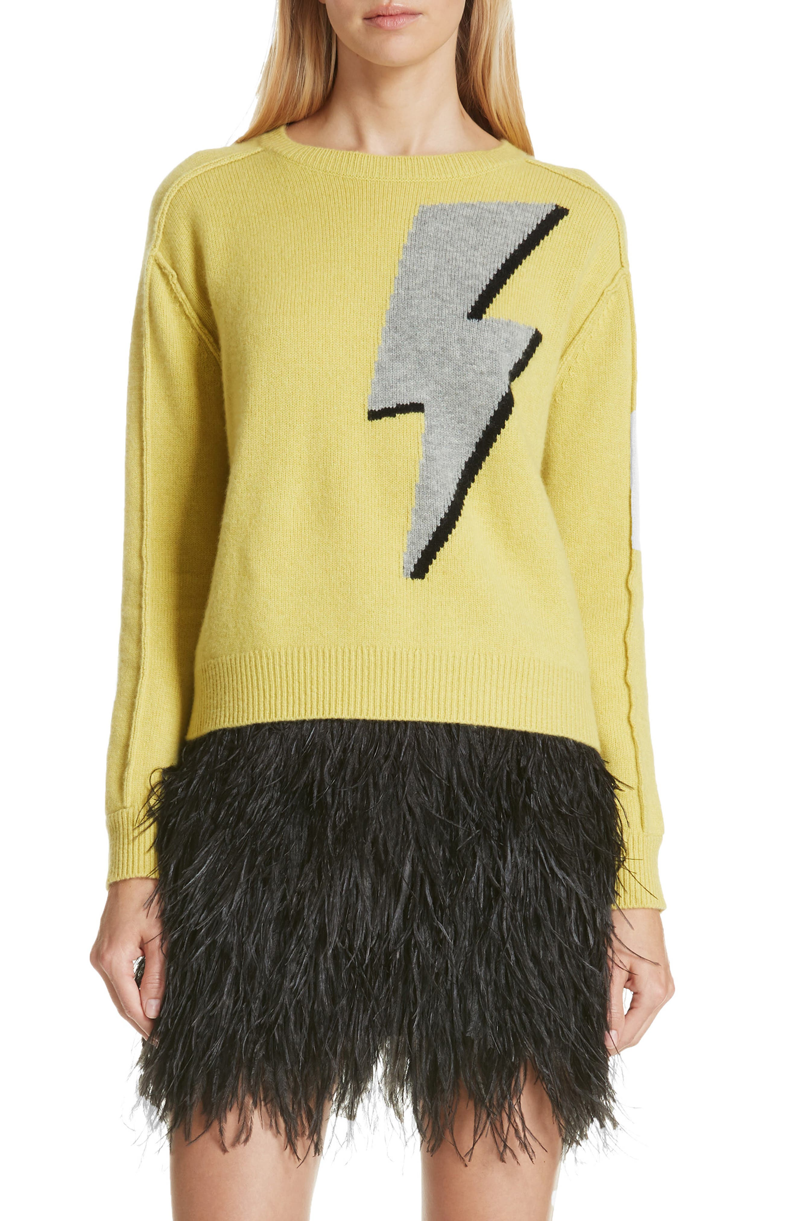 Lightning Bolt Wool & Cashmere Sweater,                         Main,                         color, YELLOW/ GREY