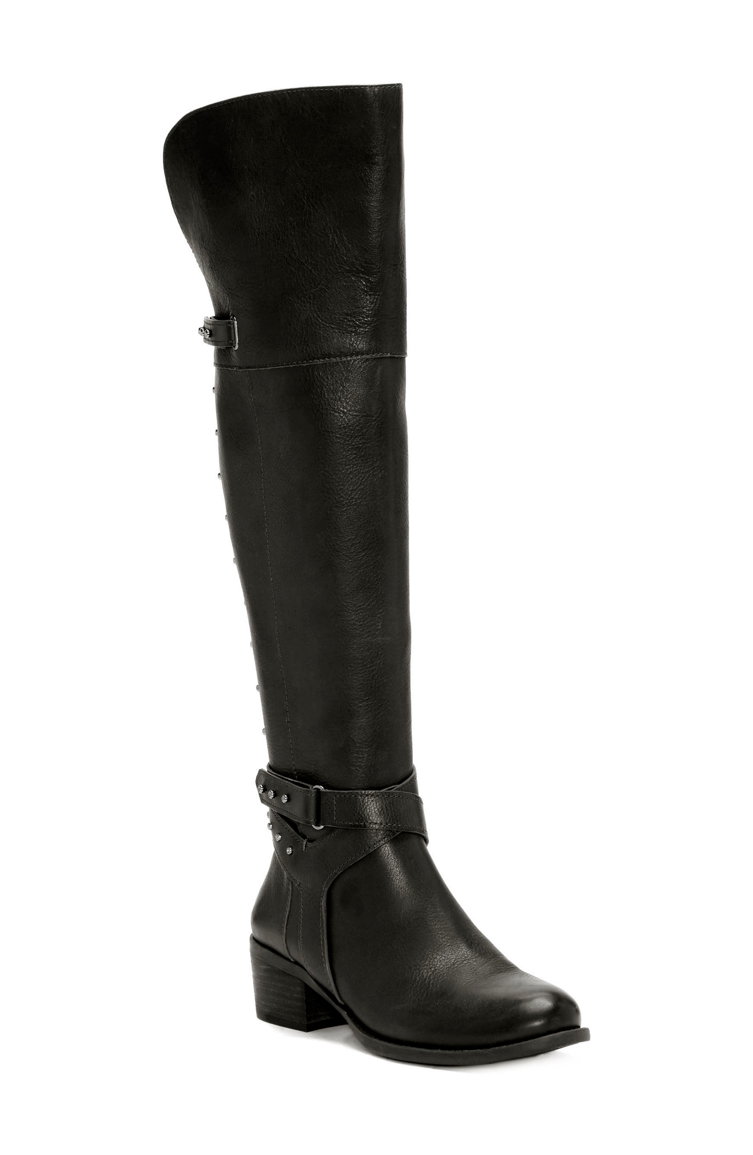 Bestant Over the Knee Boot,                             Main thumbnail 1, color,                             BLACK LEATHER WIDE CALF