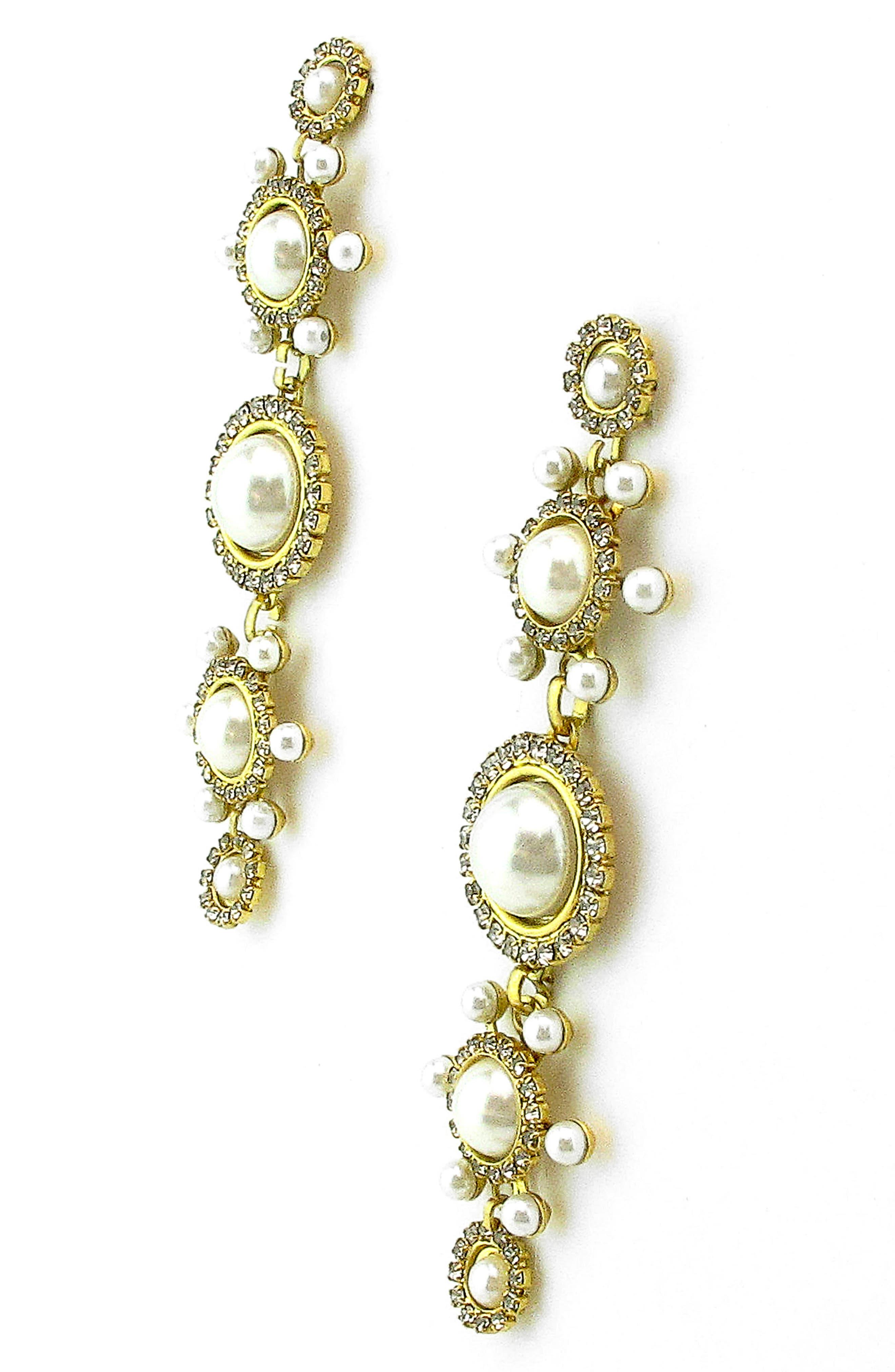 Gretchen Imitation Pearl Linear Earrings,                             Alternate thumbnail 2, color,                             100
