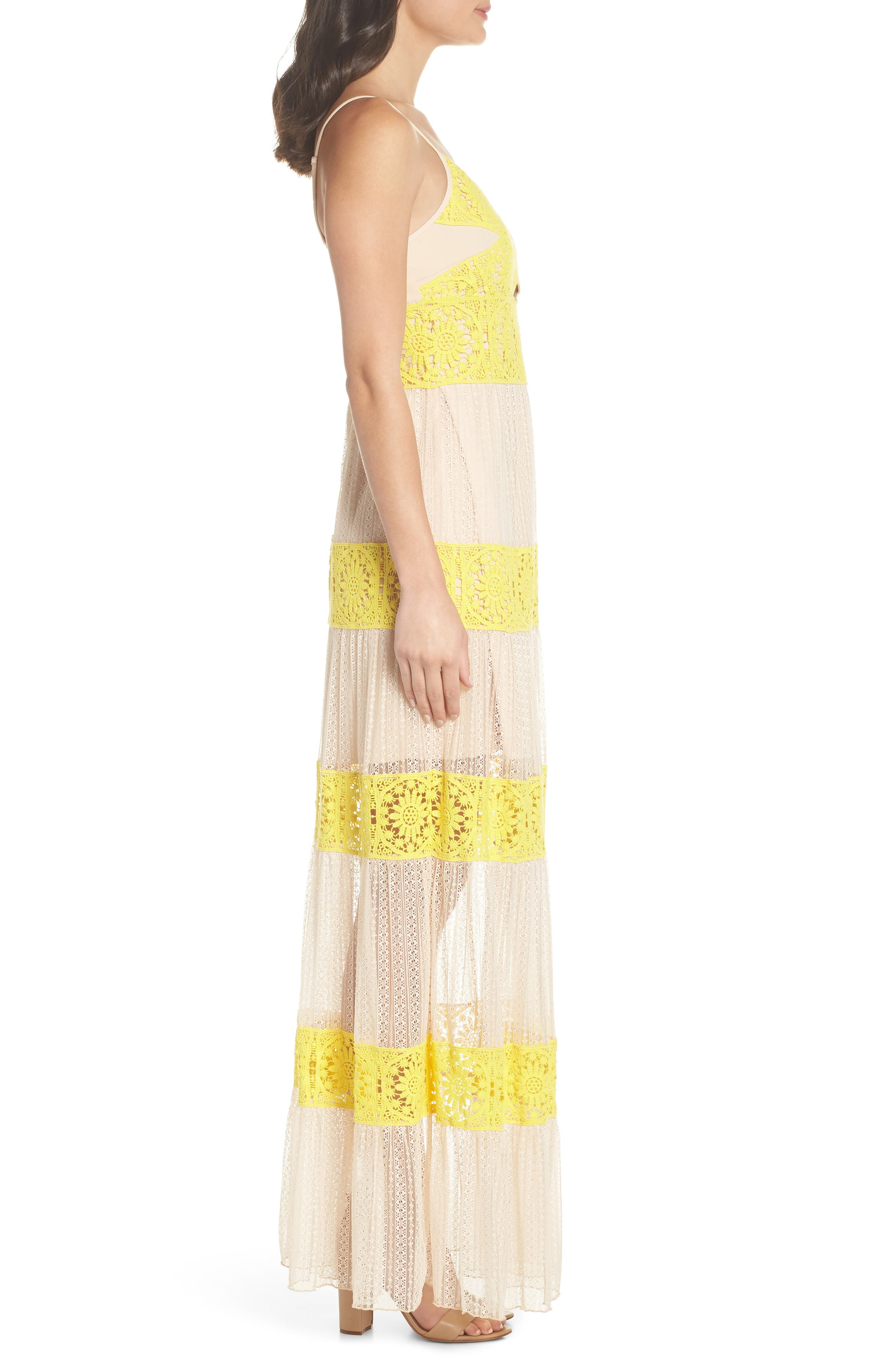 Mia Two-Tone Lace Gown,                             Alternate thumbnail 3, color,                             YELLOW/ NUDE