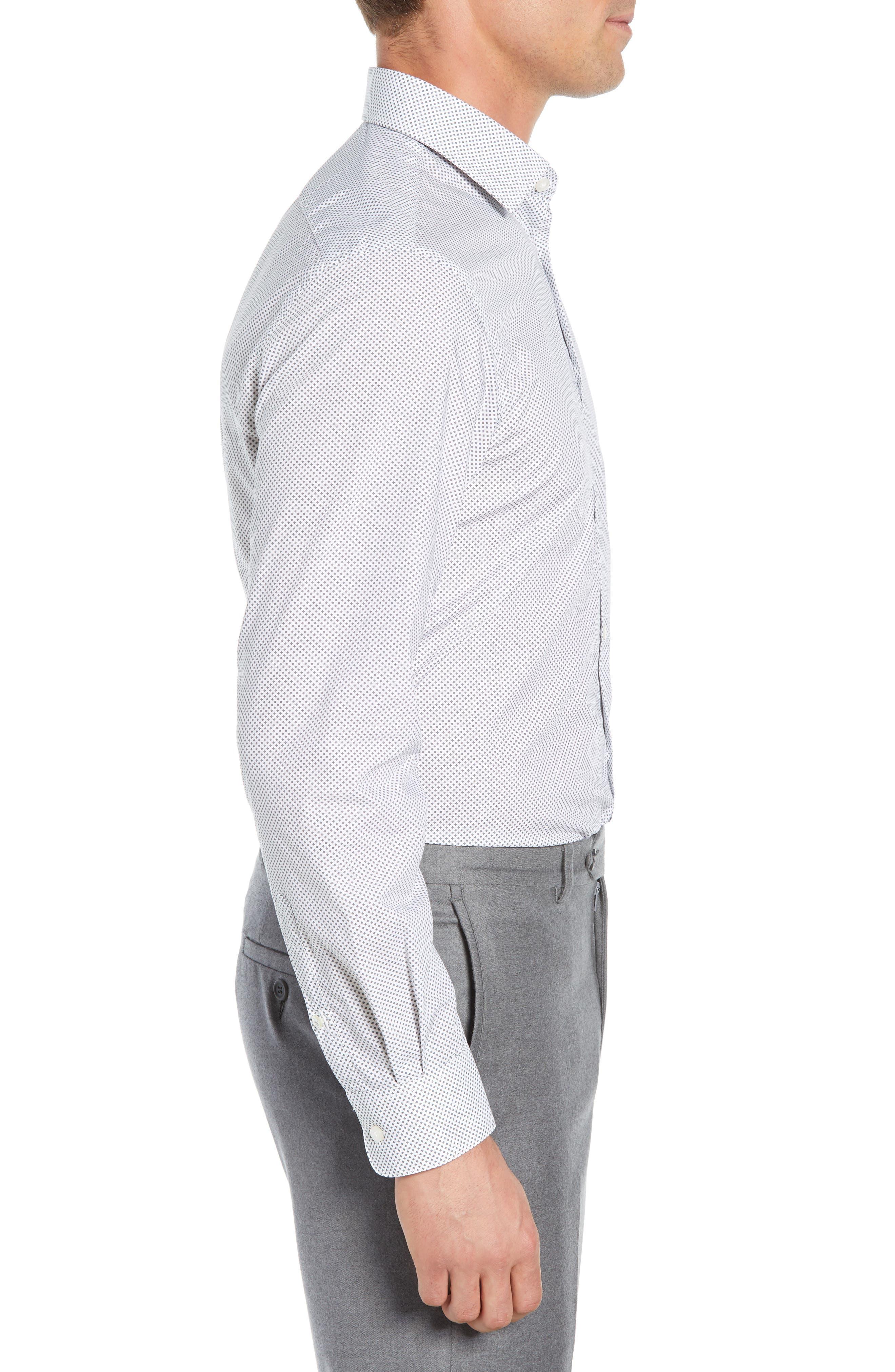 Regular Fit Geometric Dress Shirt,                             Alternate thumbnail 4, color,                             THUNDER GREY
